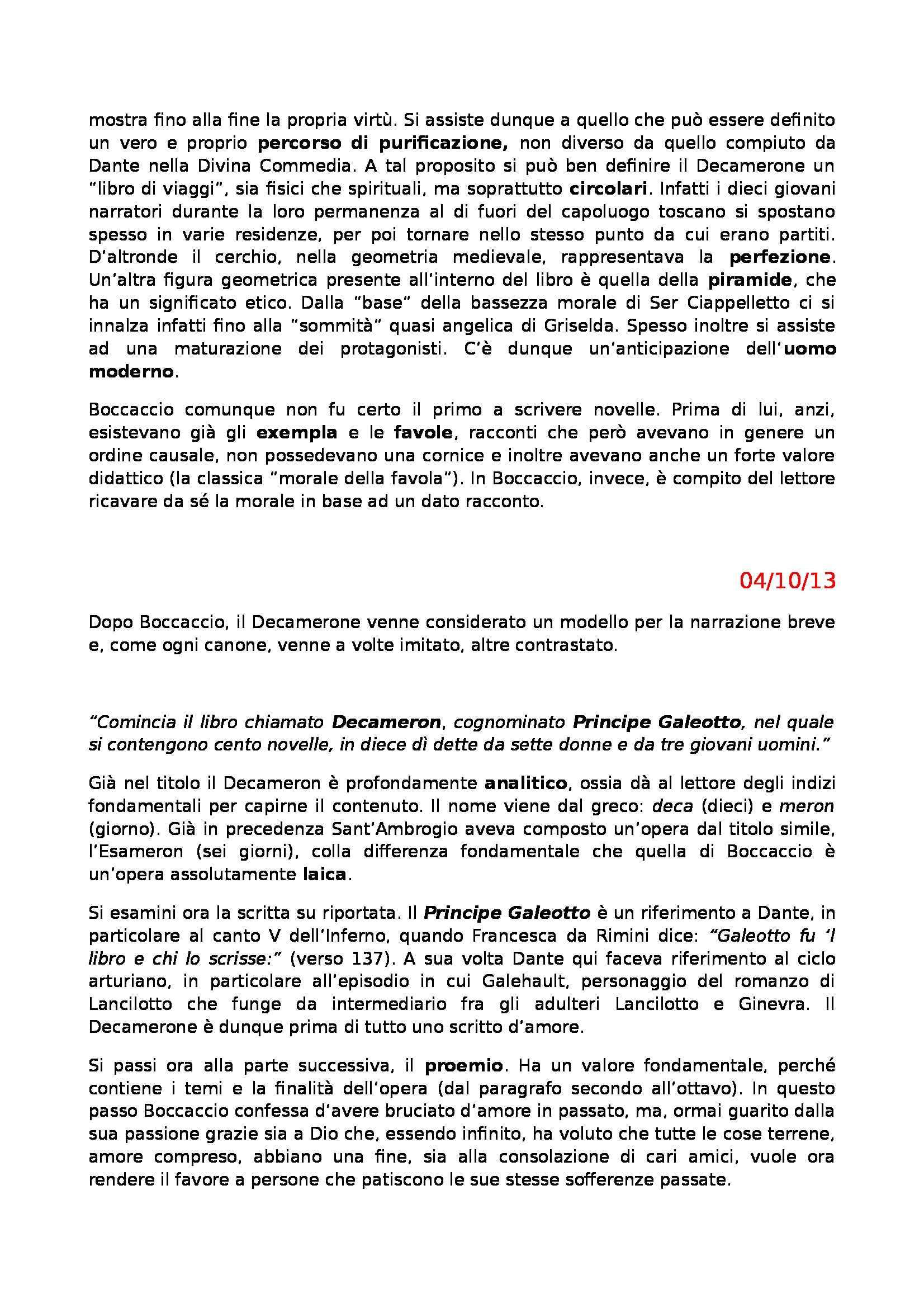 Letteratura Italiana - Boccaccio e Decameron Pag. 2