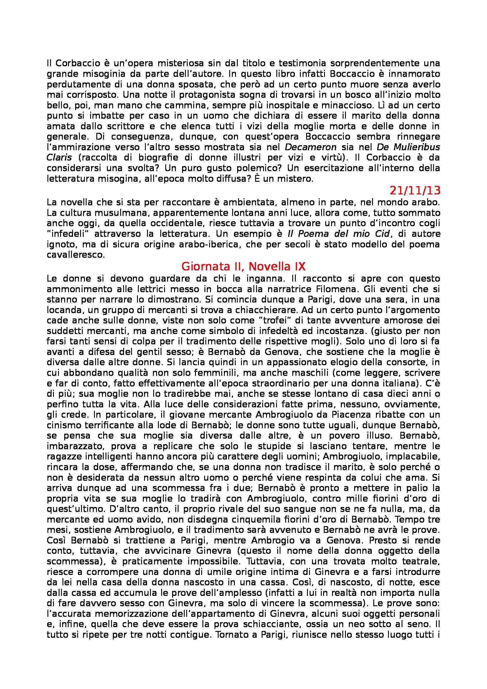 Letteratura Italiana - Boccaccio e Decameron Pag. 21