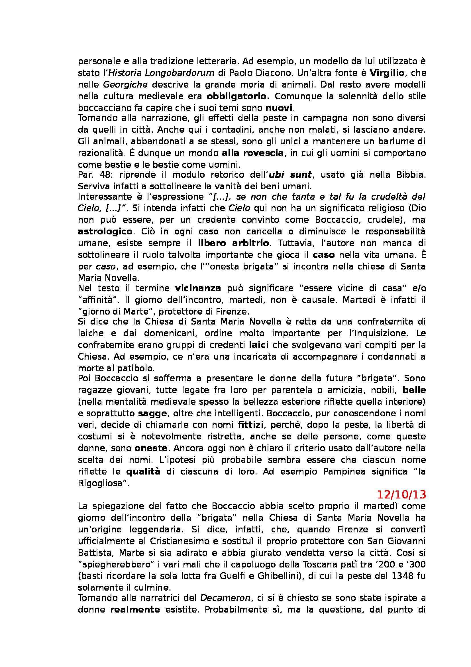 Letteratura Italiana - Boccaccio e Decameron Pag. 6