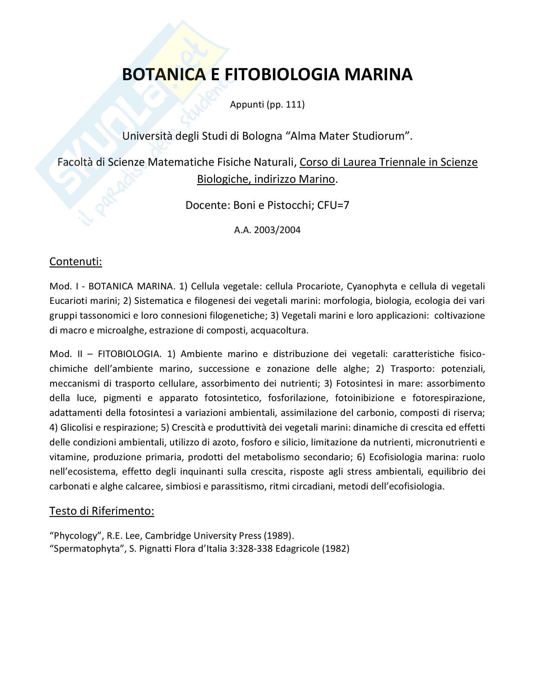 Botanica e Fitobiologia Marina - Appunti