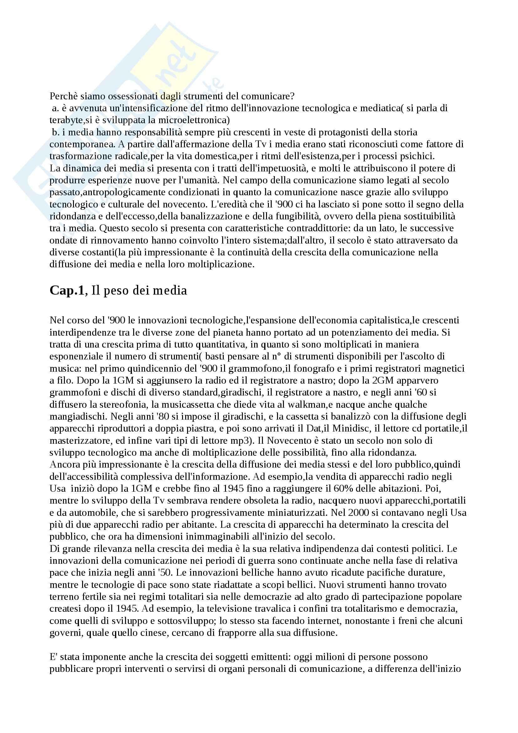 Riassunto esame Media: Storia e teoria,, prof. Ortoleva, libro consigliato Il secolo dei media. Riti, abitudini, mitologie, Ortoleva