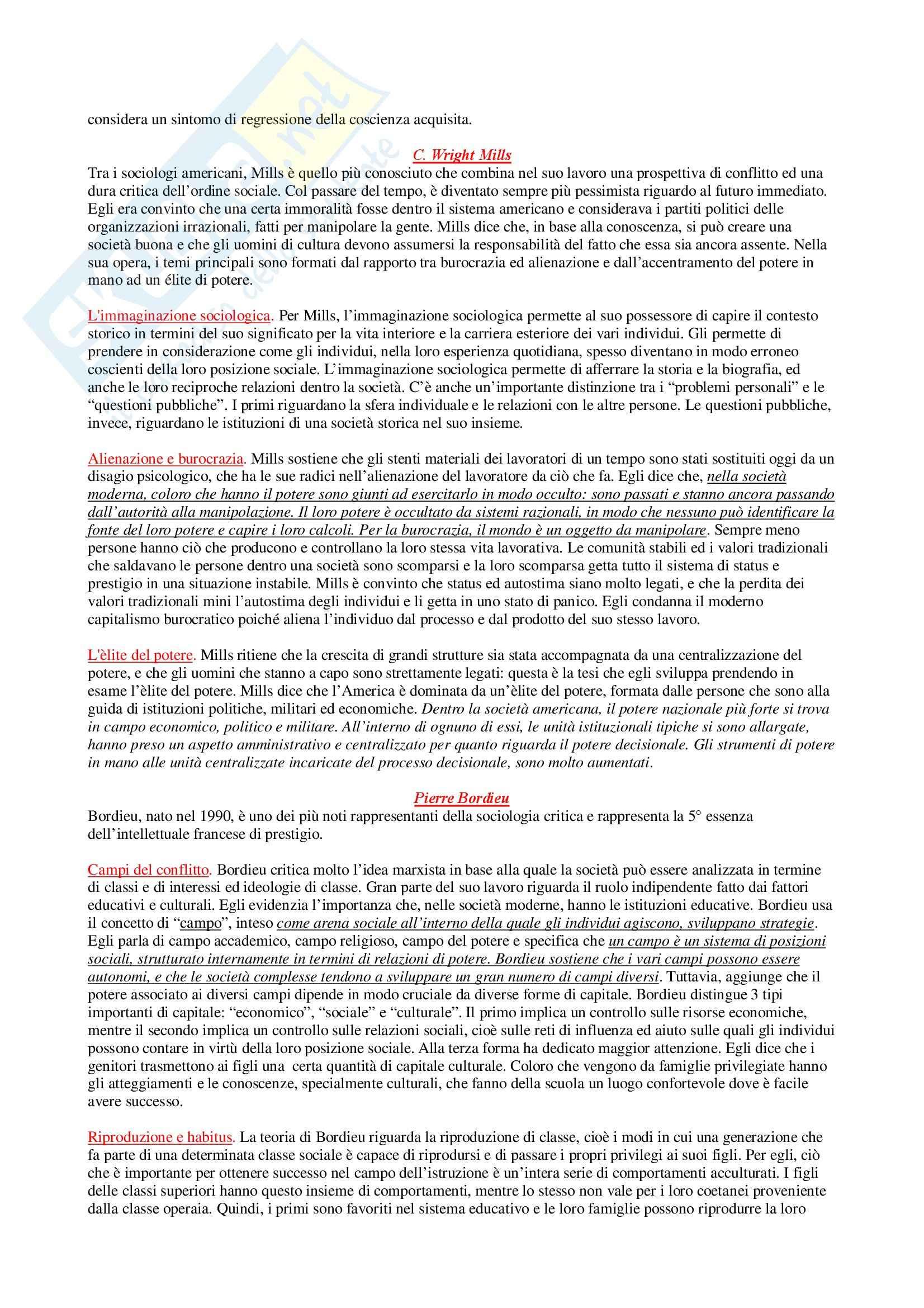 Riassunto esame Sociologia Generale, prof. Di Gennaro, libro consigliato La Teoria Sociologica Contemporanea, Wallace, Wolf Pag. 11