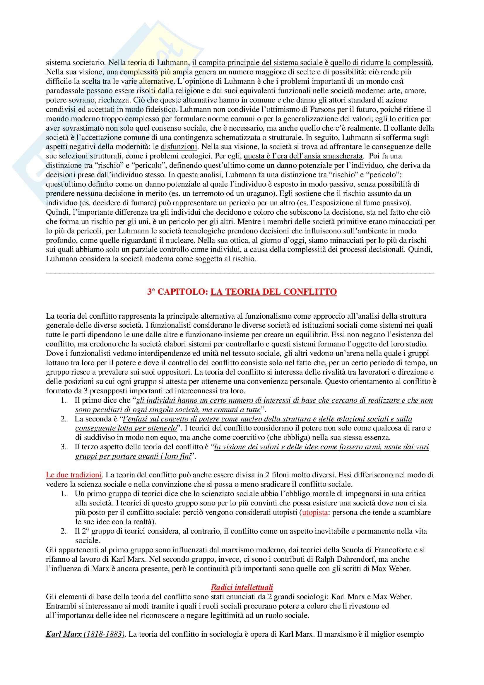 Riassunto esame Sociologia Generale, prof. Di Gennaro, libro consigliato La Teoria Sociologica Contemporanea, Wallace, Wolf Pag. 6