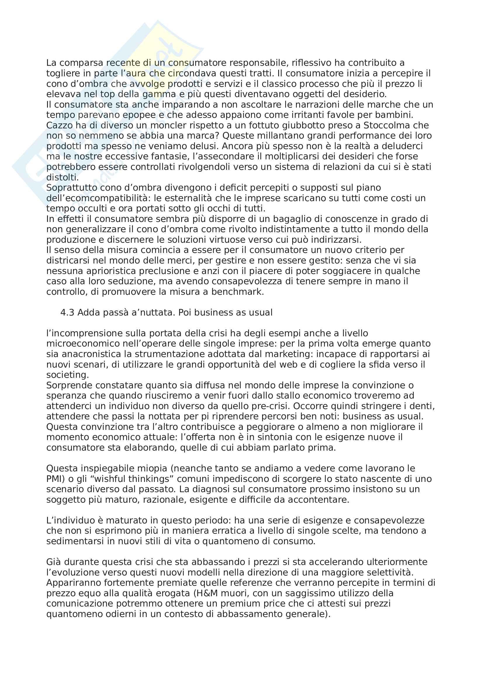 Riassunto esame Costumi e cultura d'impresa, prof. Ferraresi, libro consigliato La società post-crescita, Fabris Pag. 6