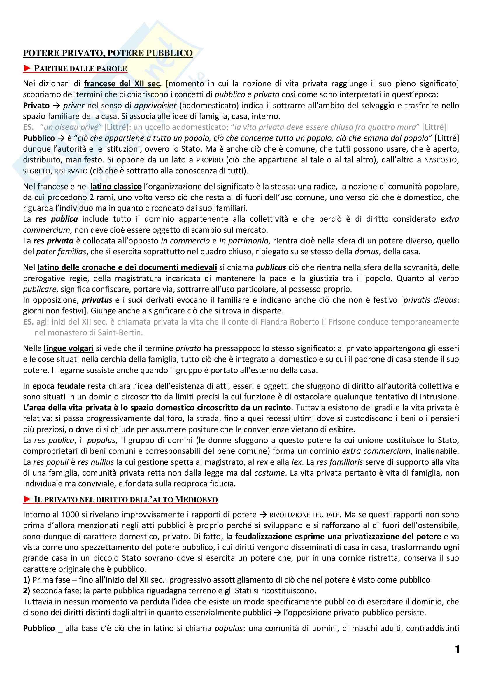 Riassunto esame Storia Medievale, prof. Vallerani, libro consigliato La Vita Privata, Duby, Ariès