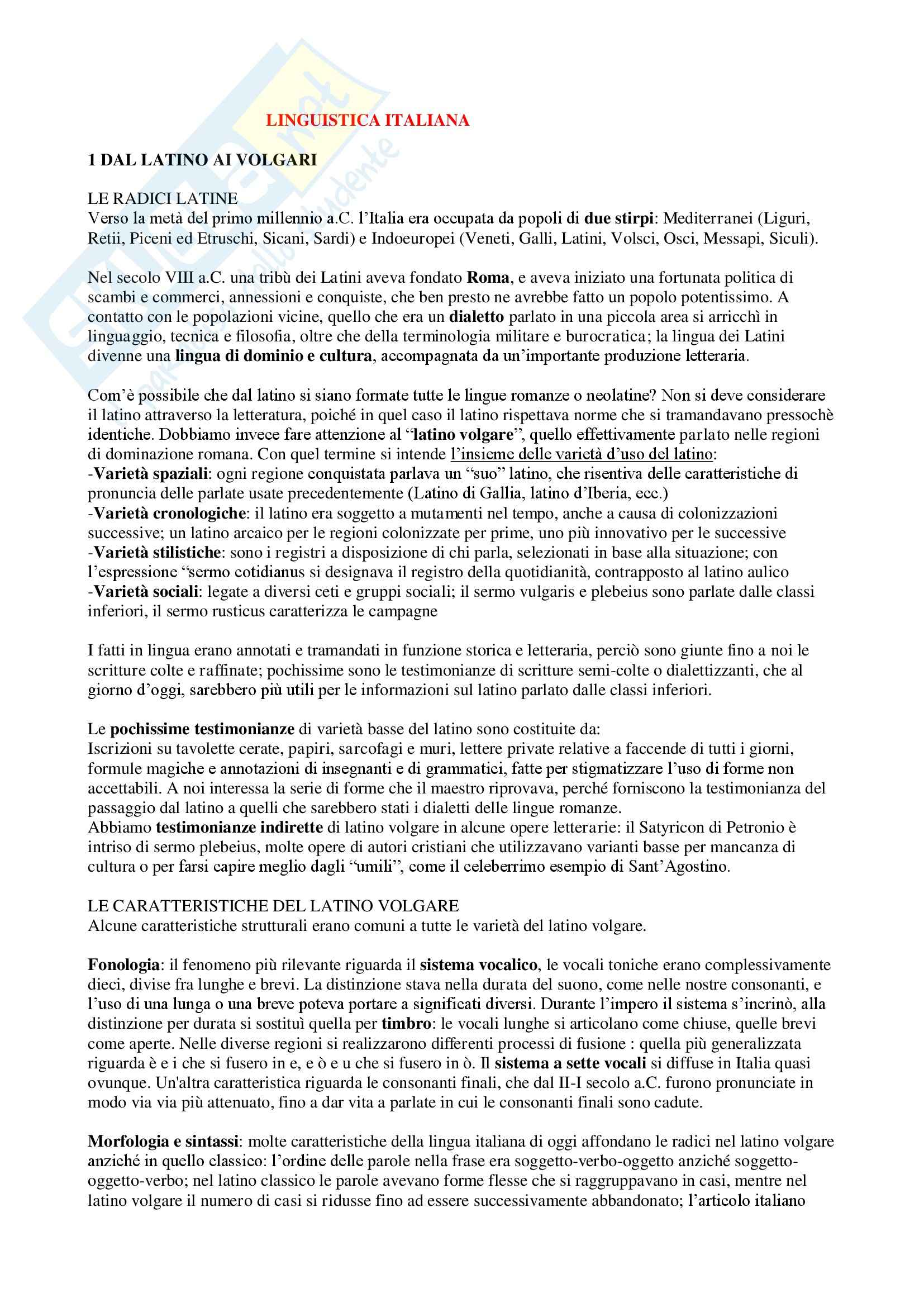 Riassunto esame Linguistica italiana, prof. Tavoni, libro consigliato Introduzione alla linguistica italiana, Sobrero, Miglietta