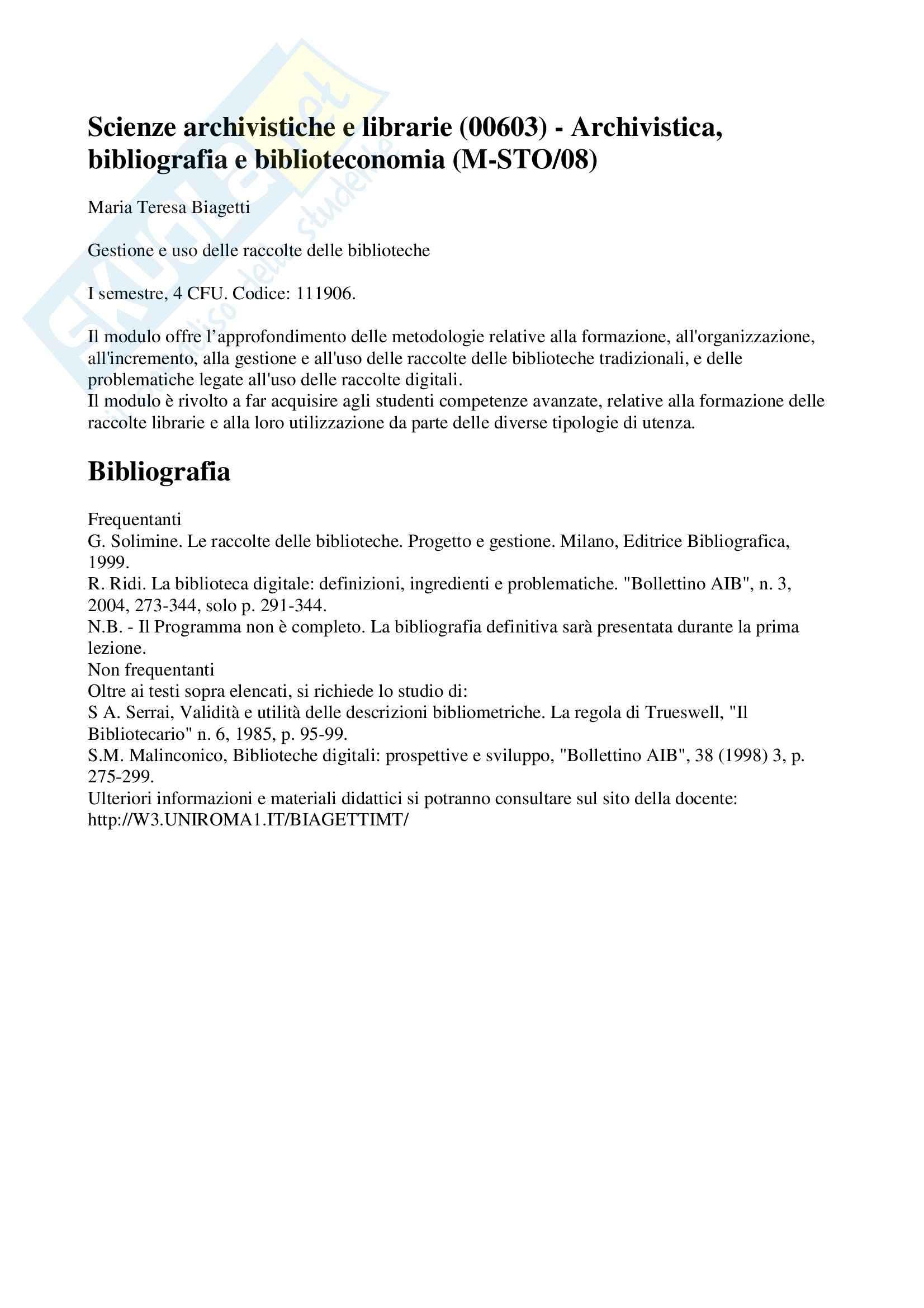 Gestione e uso delle raccolte delle biblioteche