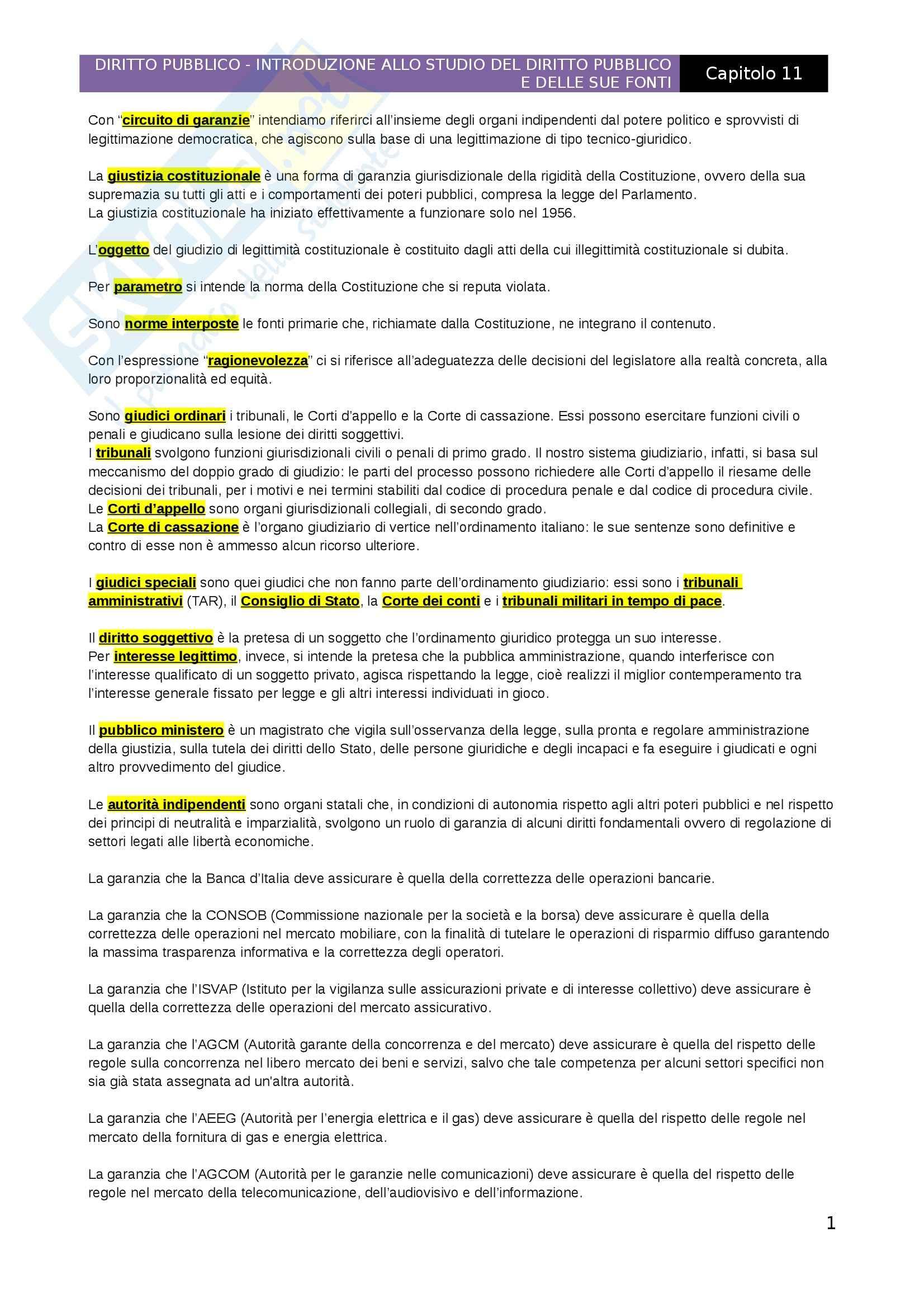 Introduzione allo studio del diritto pubblico e delle sue fonti, Capitolo 11