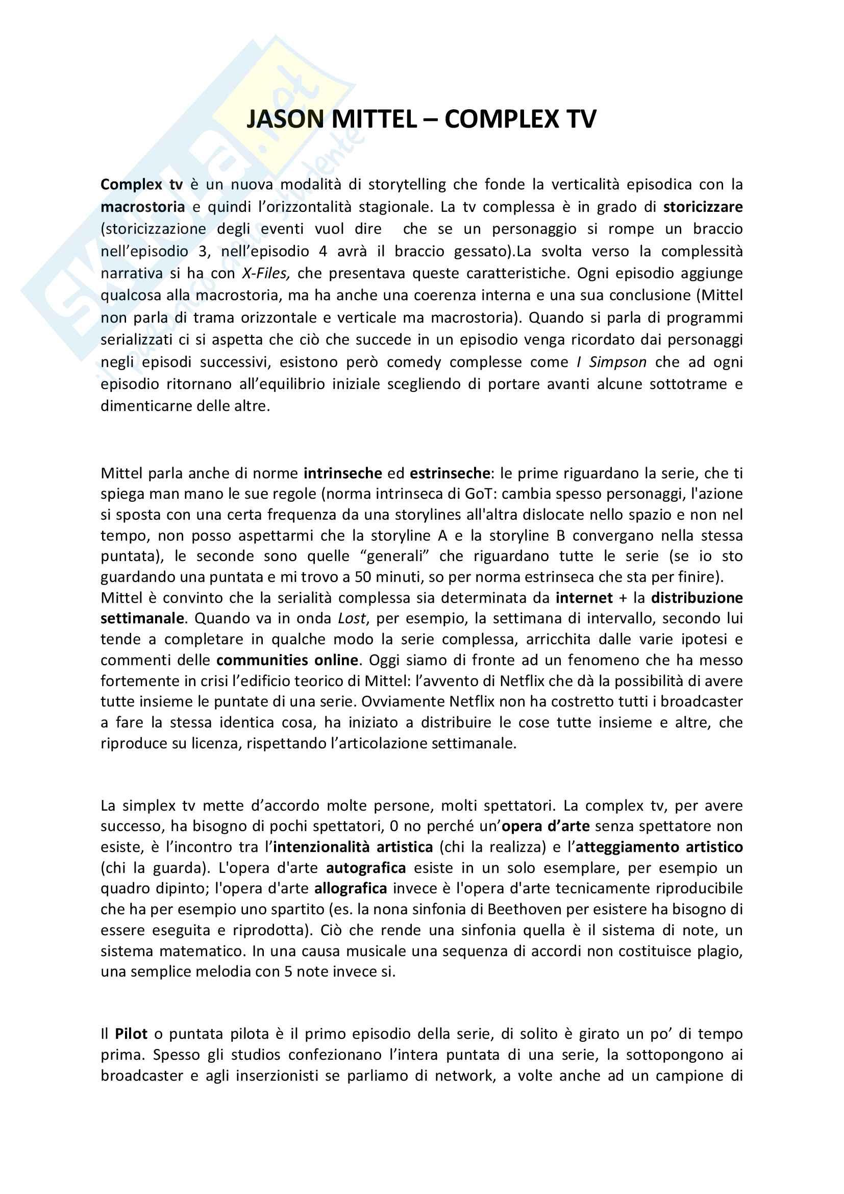 Riassunto esame Teorie e tecniche del linguaggio audiovisivo, prof. Bandirali, libro consigliato Complex tv, teoria e tecnica dello storytelling, Mittel