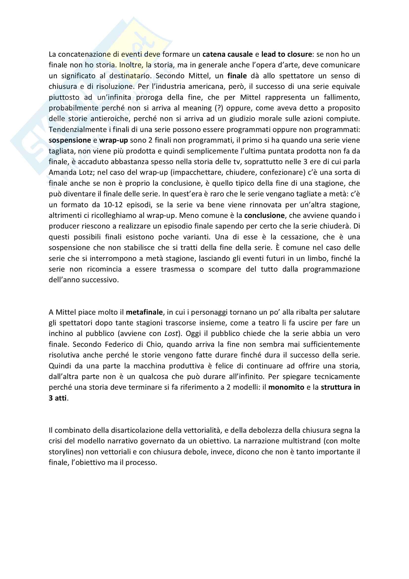 Riassunto esame Teorie e tecniche del linguaggio audiovisivo, prof. Bandirali, libro consigliato Complex tv, teoria e tecnica dello storytelling, Mittel Pag. 11