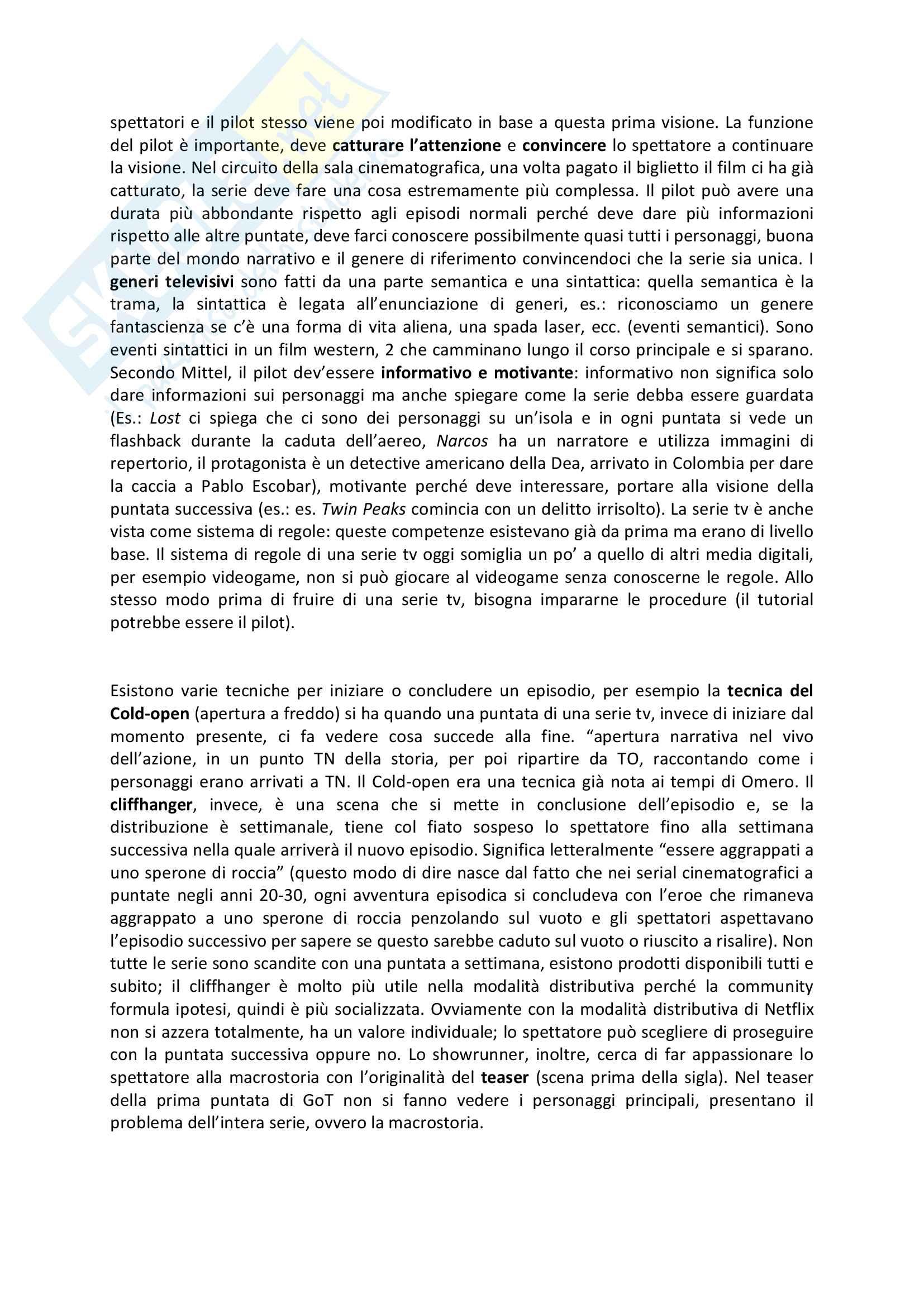 Riassunto esame Teorie e tecniche del linguaggio audiovisivo, prof. Bandirali, libro consigliato Complex tv, teoria e tecnica dello storytelling, Mittel Pag. 2