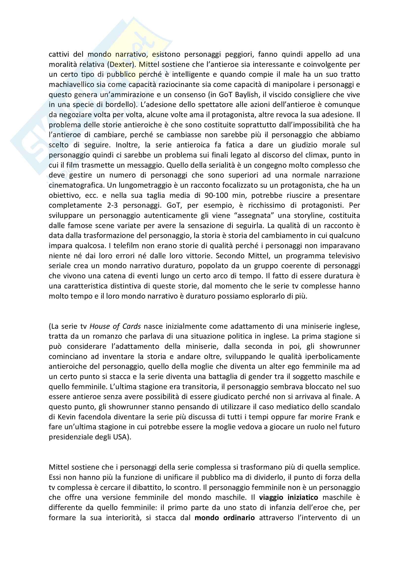 Riassunto esame Teorie e tecniche del linguaggio audiovisivo, prof. Bandirali, libro consigliato Complex tv, teoria e tecnica dello storytelling, Mittel Pag. 6