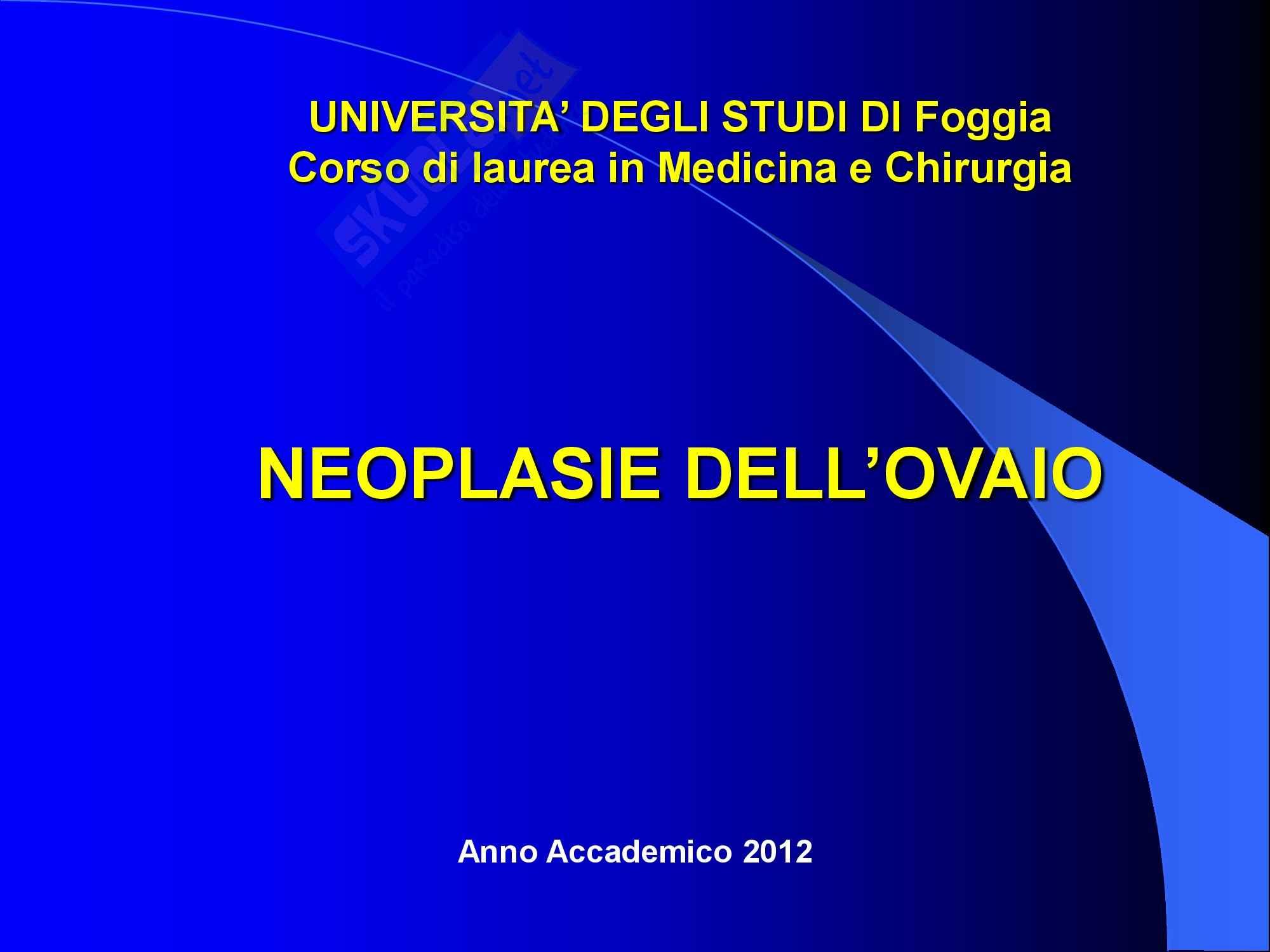 Ginecologia e Ostetricia - Neoplasie dell'Ovaio