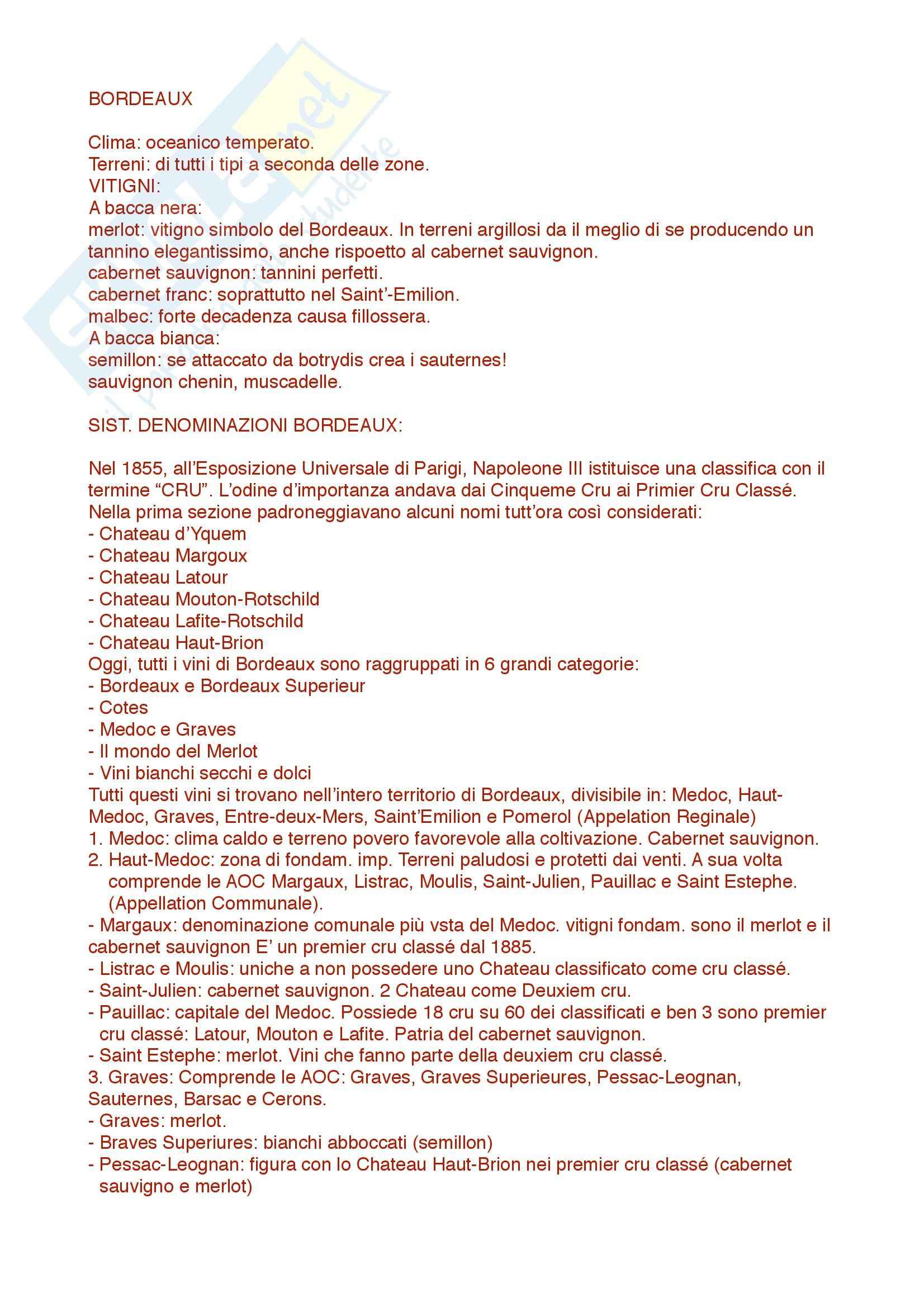Bordeaux: Appunti di Enologia