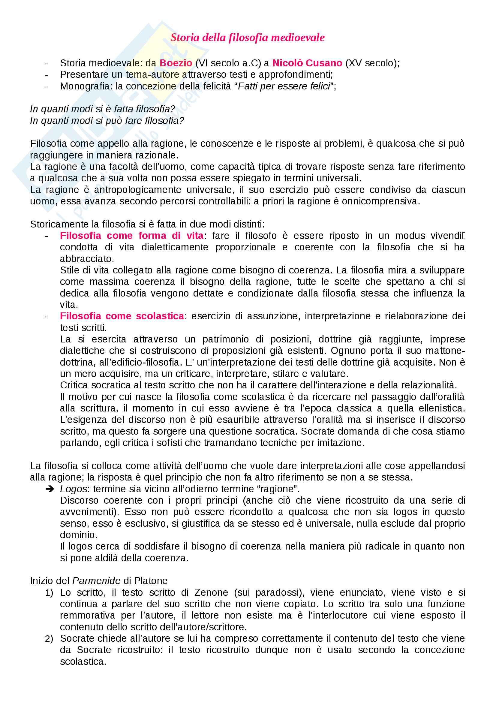 Appunti di Storia della filosofia medioevale (lezioni complete)
