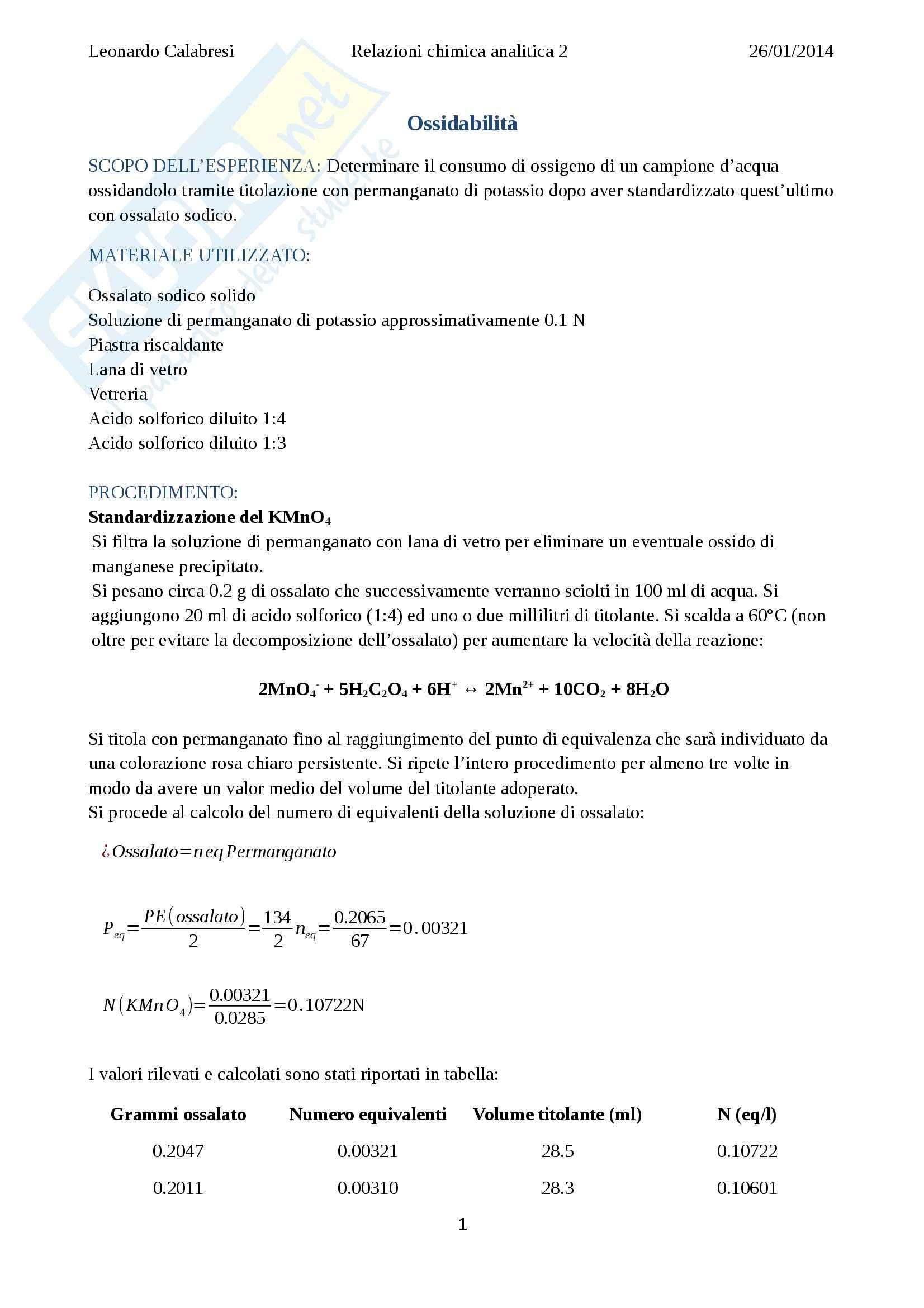Relazione ossidabilità, Chimica analitica II