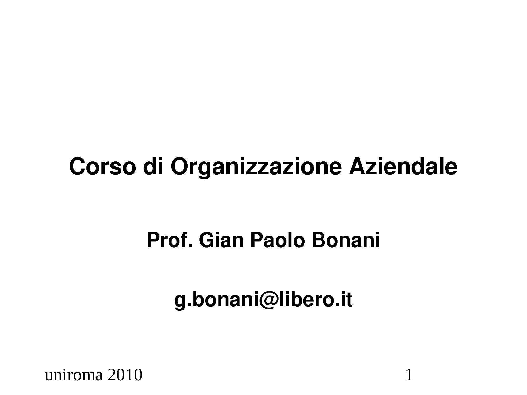 dispensa G. Bonani ORGANIZZAZIONE AZIENDALE