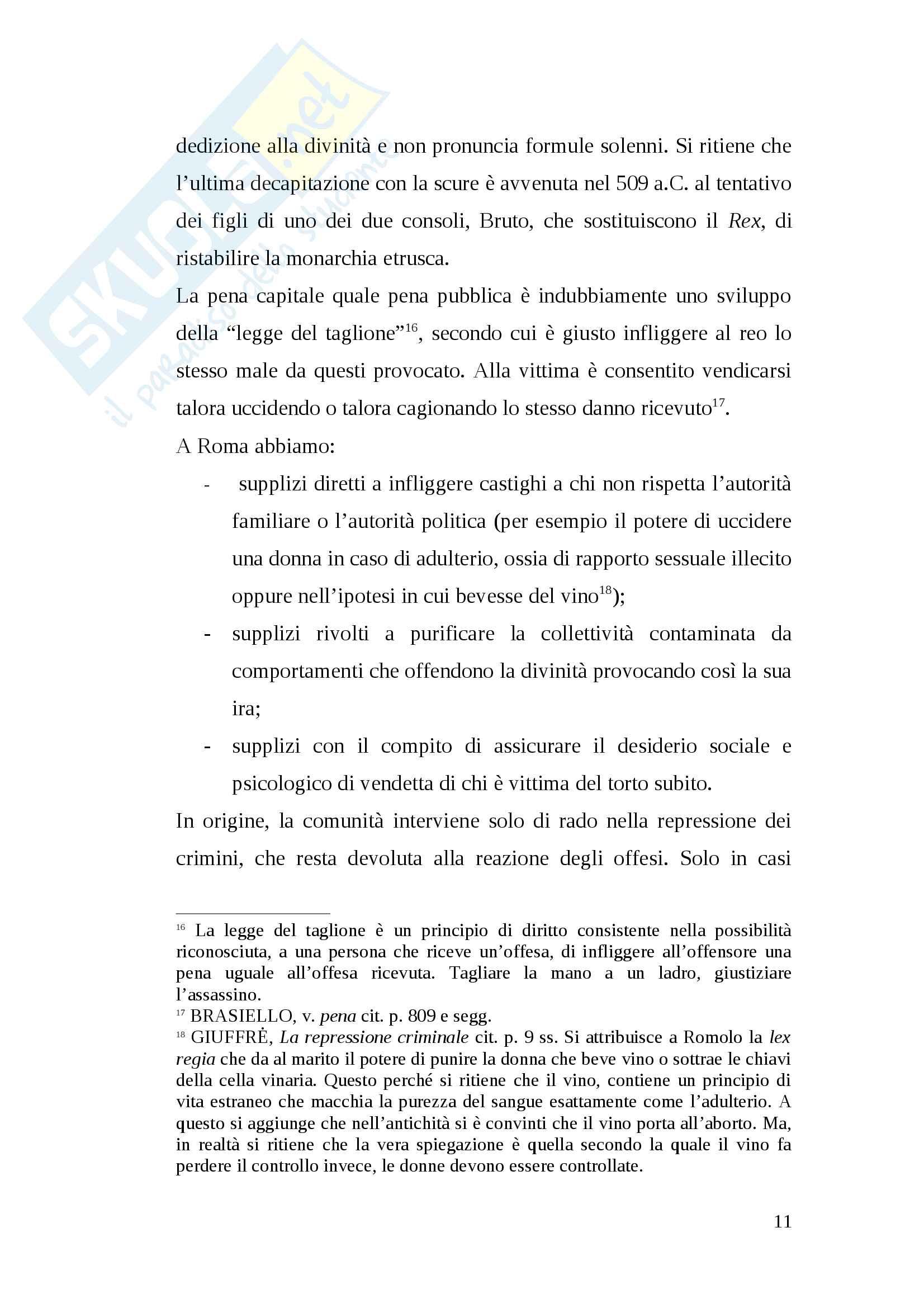Tesi pena di morte antica Roma Pag. 11