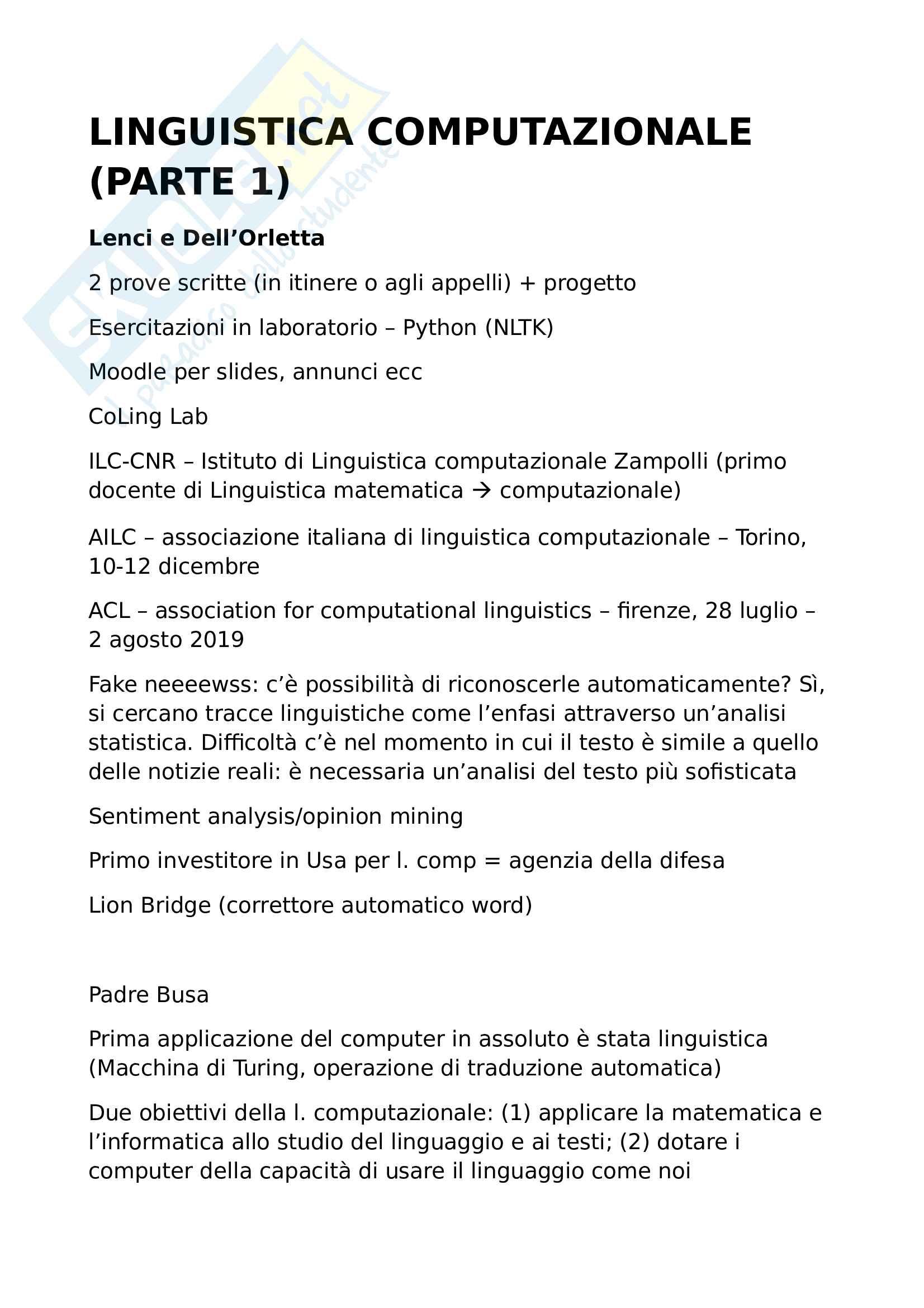 Linguistica computazionale - parte 1