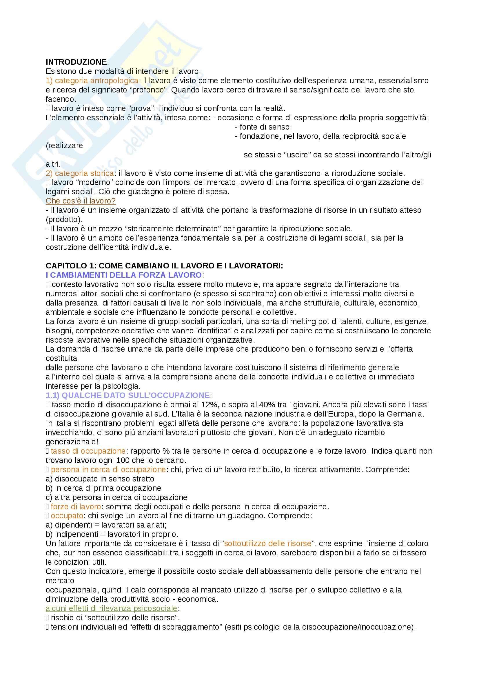 Riassunto esame psicologia del lavoro e delle organizzazioni, prof. Miglioretti, libro consigliato psicologia del lavoro, Sarchielli