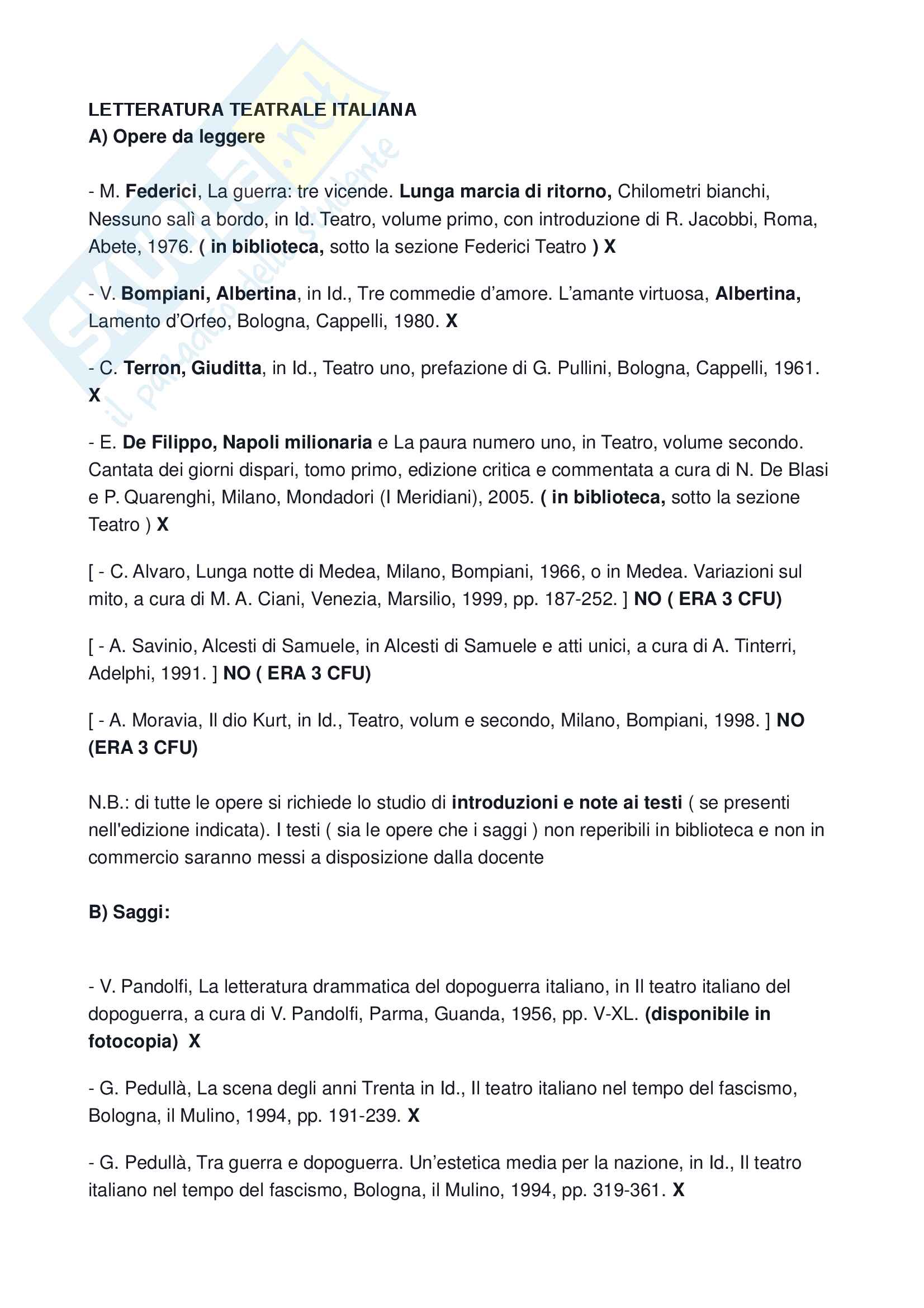 Appunti Letteratura Teatrale italiana