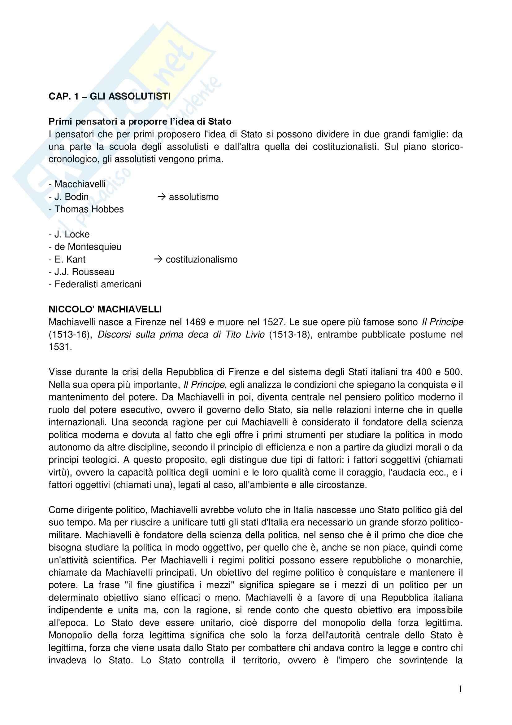 Riassunto esame Storia delle dottrine politiche, prof. Telò, libro consigliato Dallo Stato all'Europa, Telò