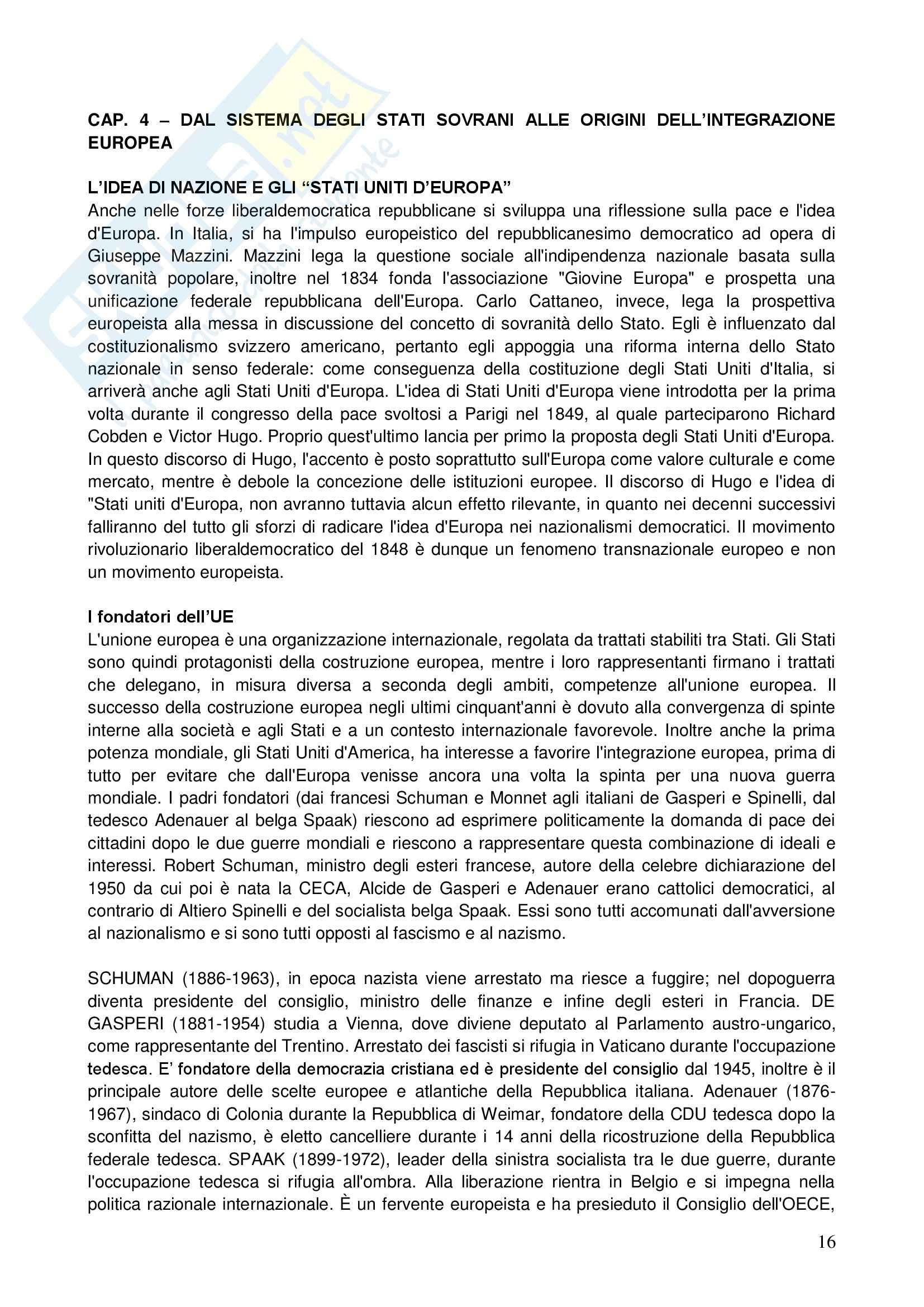 Riassunto esame Storia delle dottrine politiche, prof. Telò, libro consigliato Dallo Stato all'Europa, Telò Pag. 16
