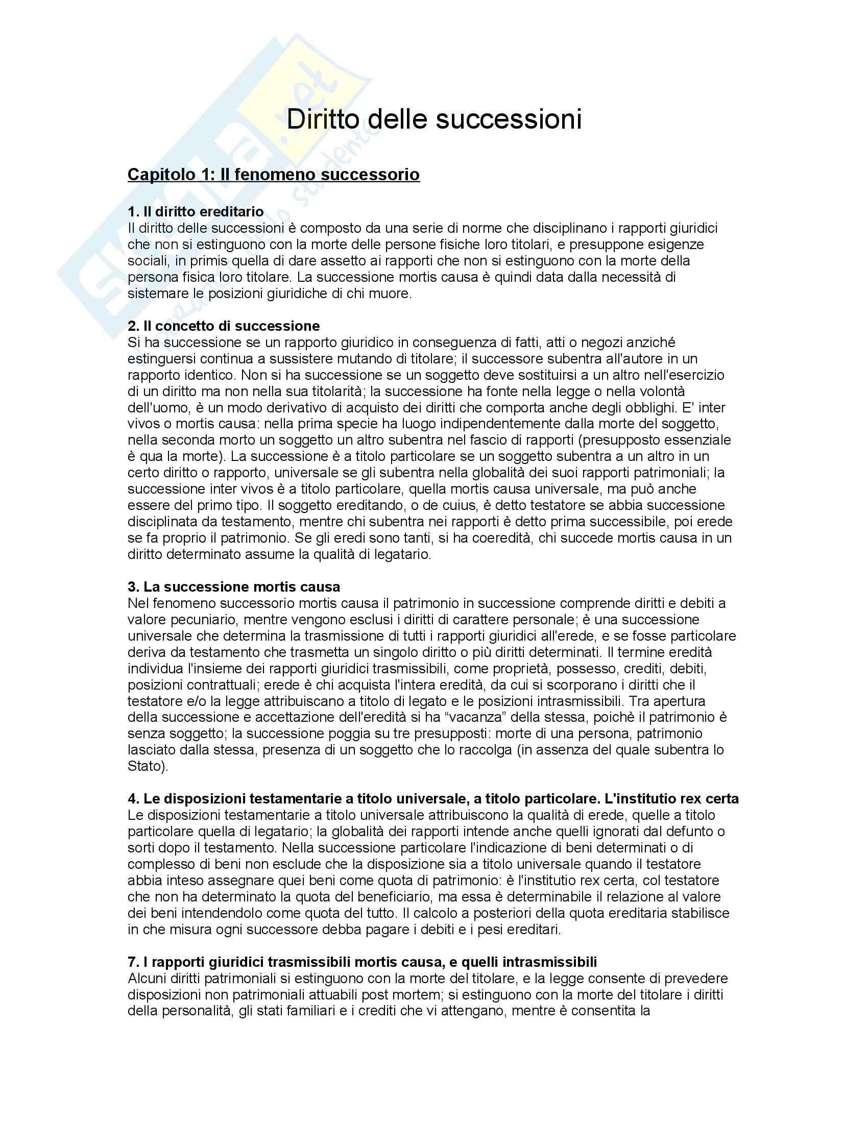 Riassunto esame Diritto delle Successioni, prof. Ferrando, libro consigliato Diritto delle Successioni di Bonilini