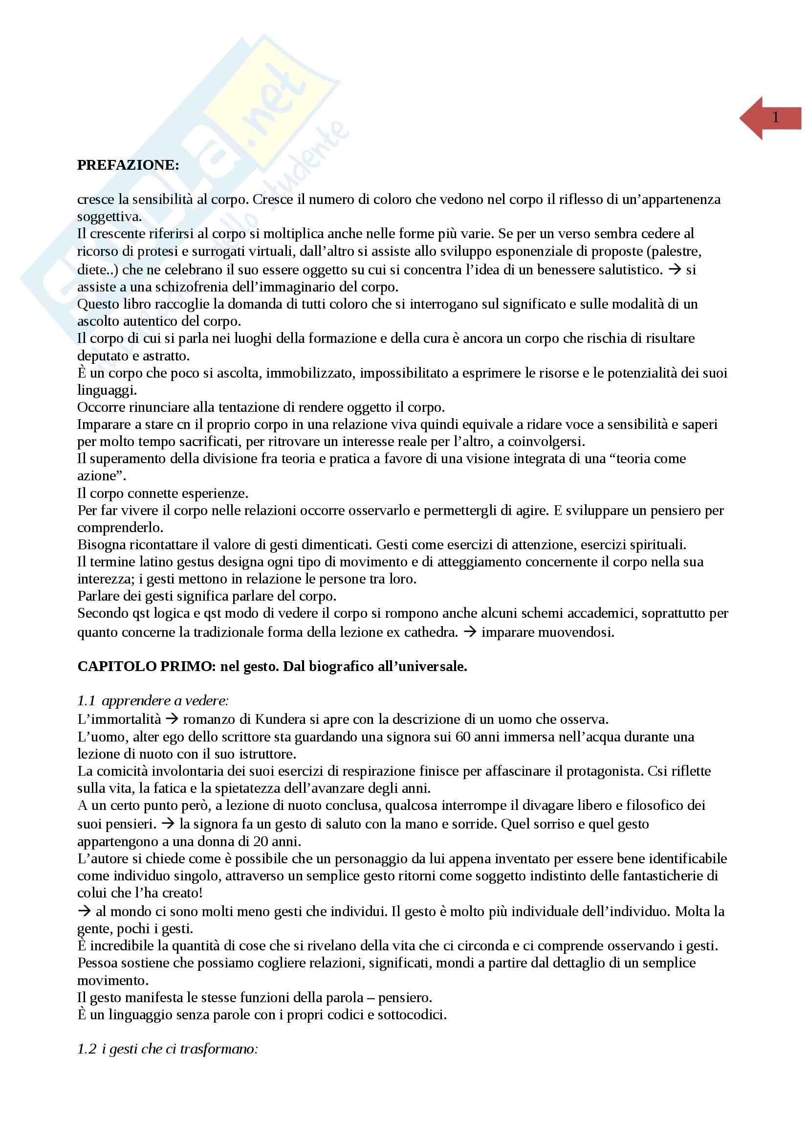 appunto I. Gamelli Pedagogia del corpo e della psicomotricità