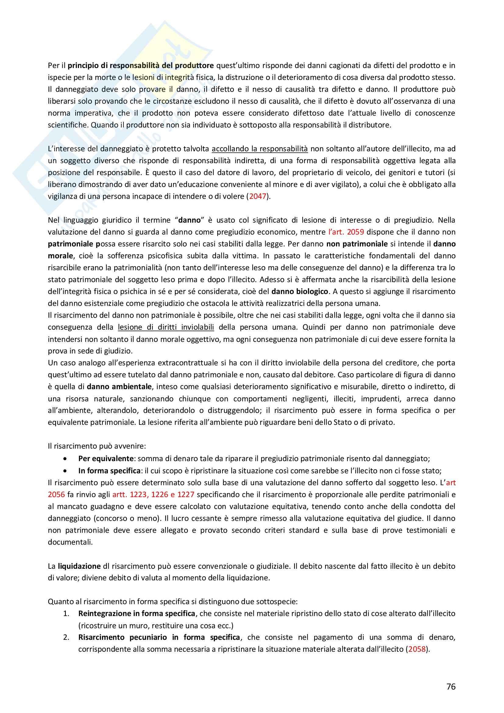 Riassunto esame Diritto Privato, prof. Morlotti, libro consigliato Diritto Privato di Zatti Pag. 76
