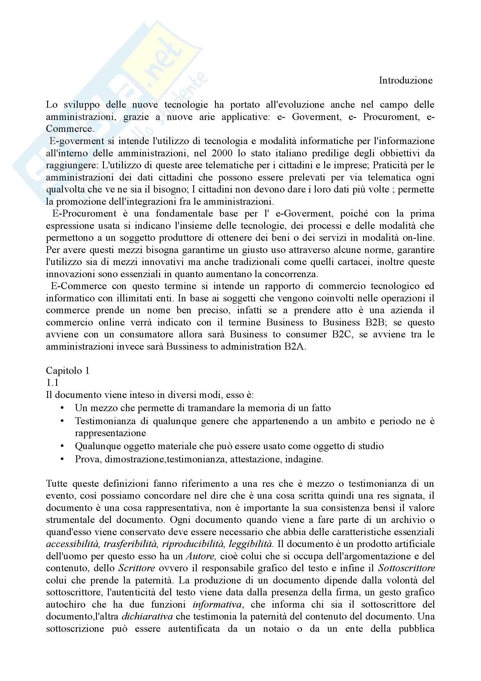 Riassunto esame Archivistica, prof. Calabrese, libro consigliato La memoria digitale delle amministrazioni pubbliche, Pigliapoco