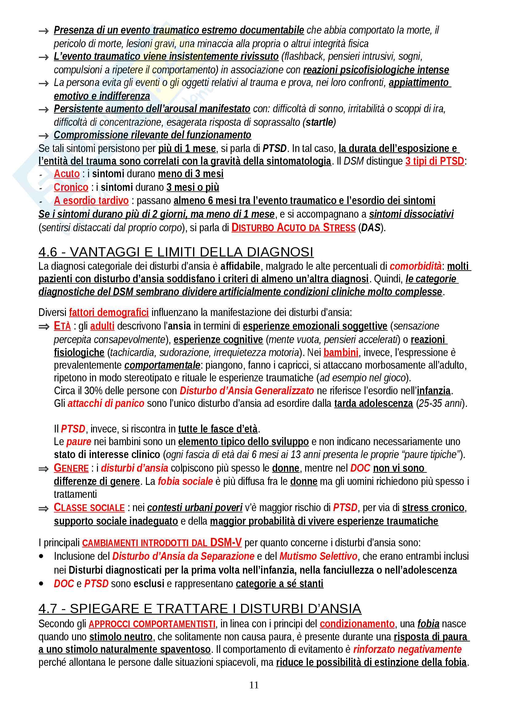 """Riassunto esame Psicologia Clinica, prof. Lombardo, libro consigliato """"Psicologia Clinica"""", Hansell & Damour Pag. 11"""