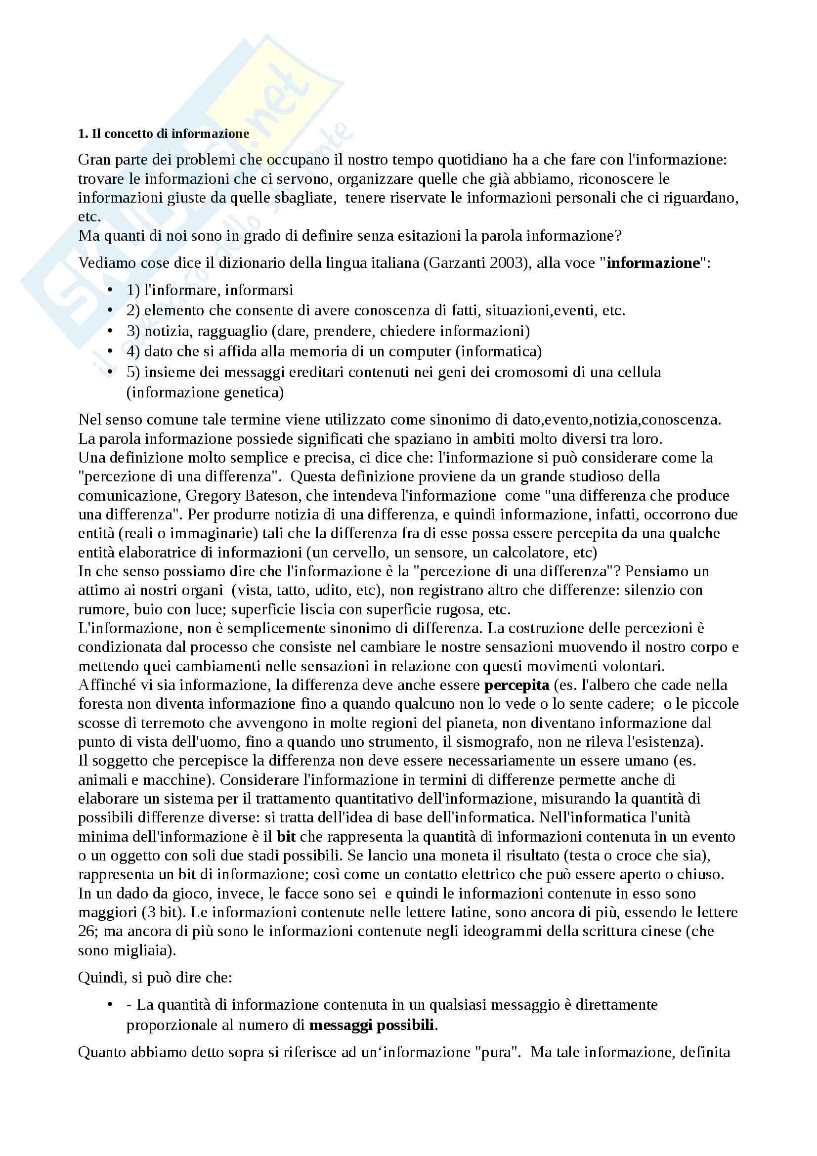 Riassunto esame Sociologia della comunicazione, prof. Paccagnella, libro consigliato Sociologia della comunicazione