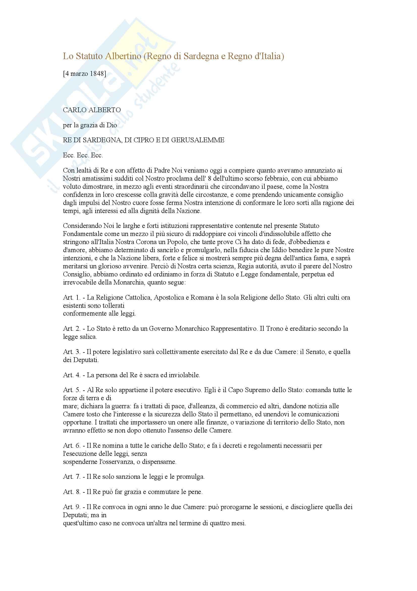 appunto C. Bologna Diritto costituzionale italiano e comparato