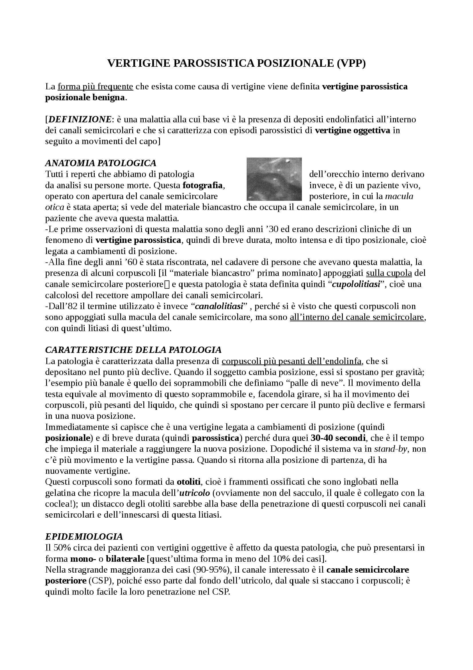 Otorinolaringoiatria - VPP, fistole, sindrome di Minor e disturbi aspecifici dell'equilibrio