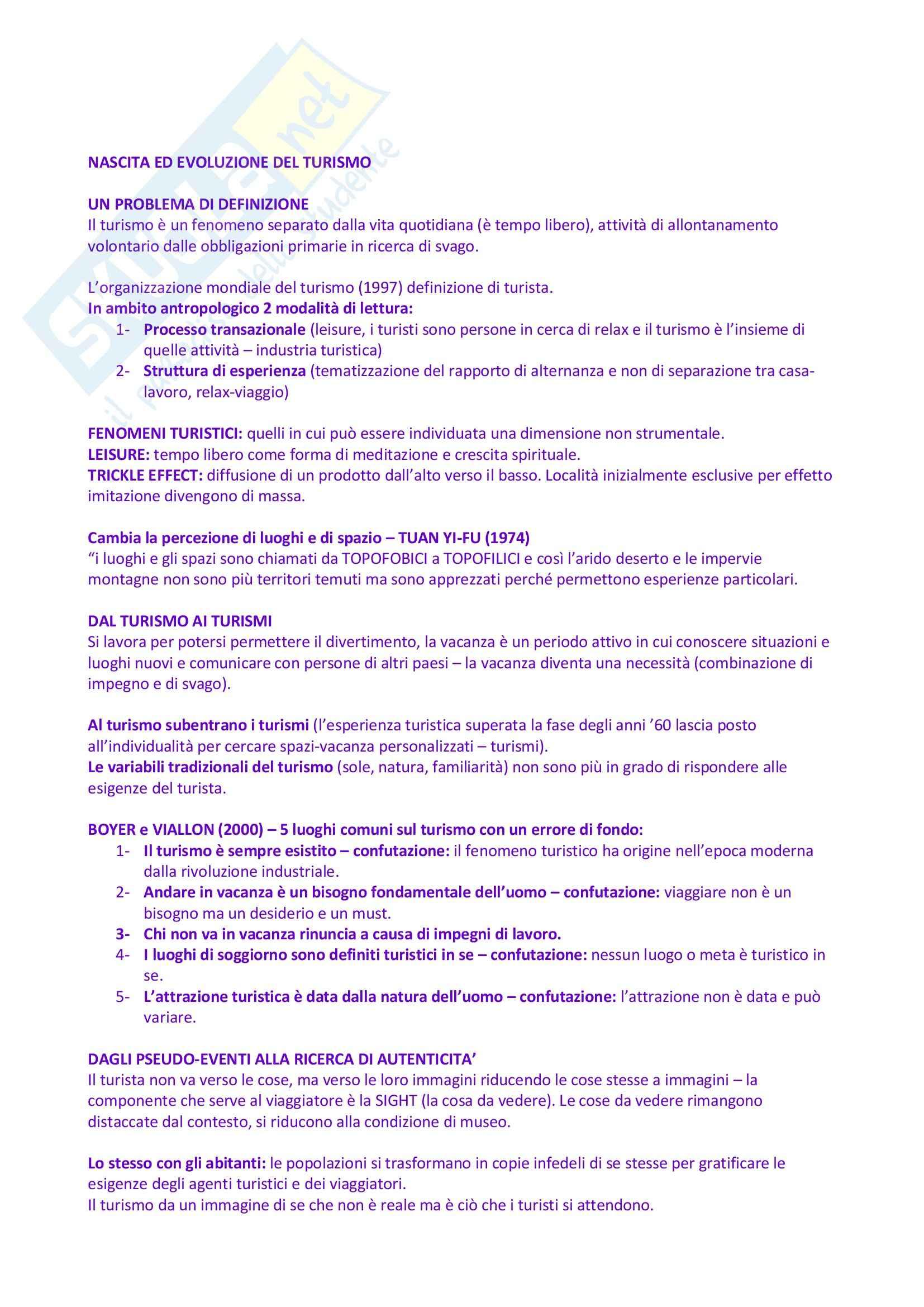 Riassunto esame Psicologia del turismo, prof. Bustreo, libro consigliato Psicologia e turismo, Maeran