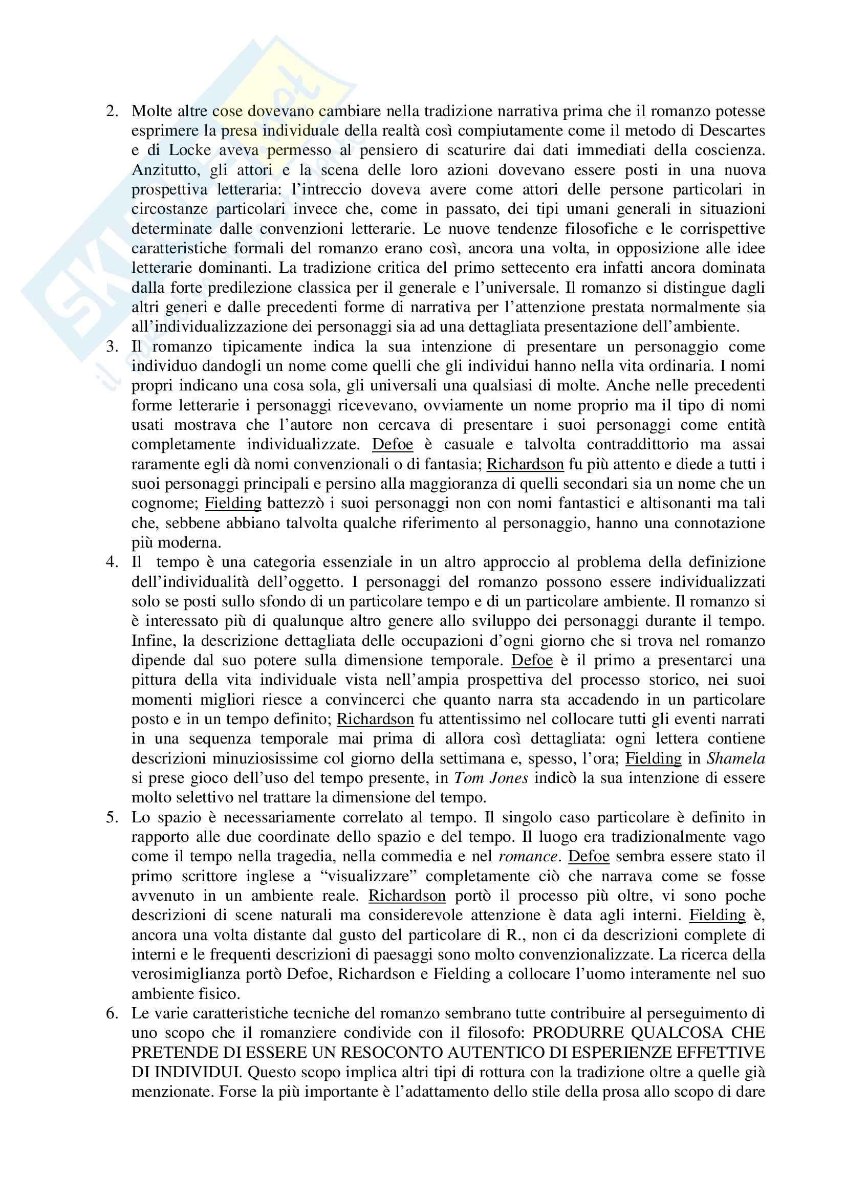 Riassunto esame Letteratura Inglese, prof. Altese, libro consigliato Le Origini del Romanzo Borghese, Watt Pag. 2