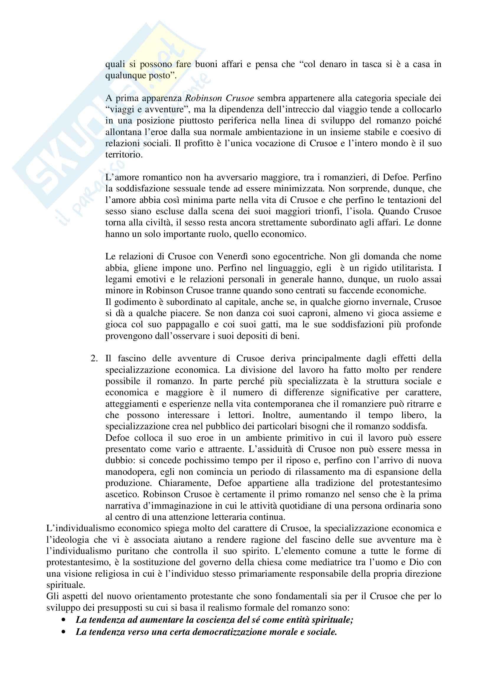 Riassunto esame Letteratura Inglese, prof. Altese, libro consigliato Le Origini del Romanzo Borghese, Watt Pag. 6