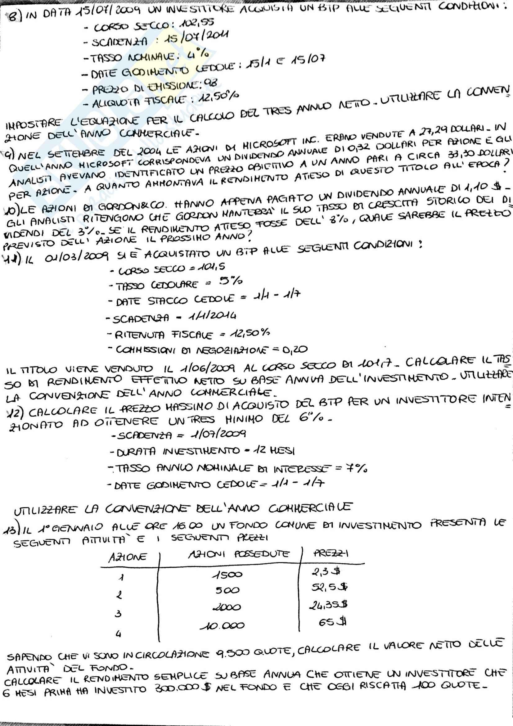 Esercizi svolti, Economia degli Intermediari Finanziari Pag. 2