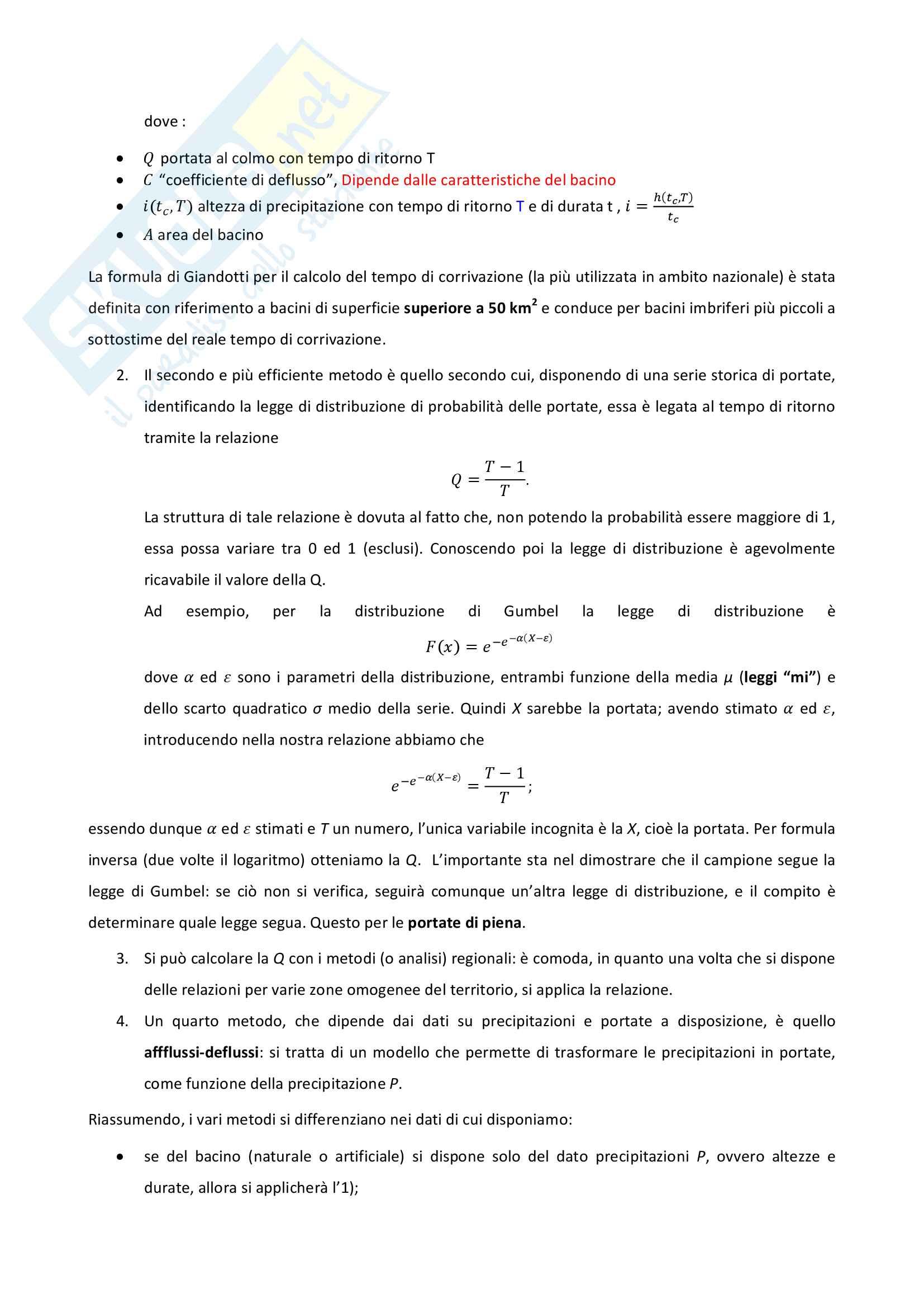 Corso di Idrologia appunti delle lezioni Pag. 2