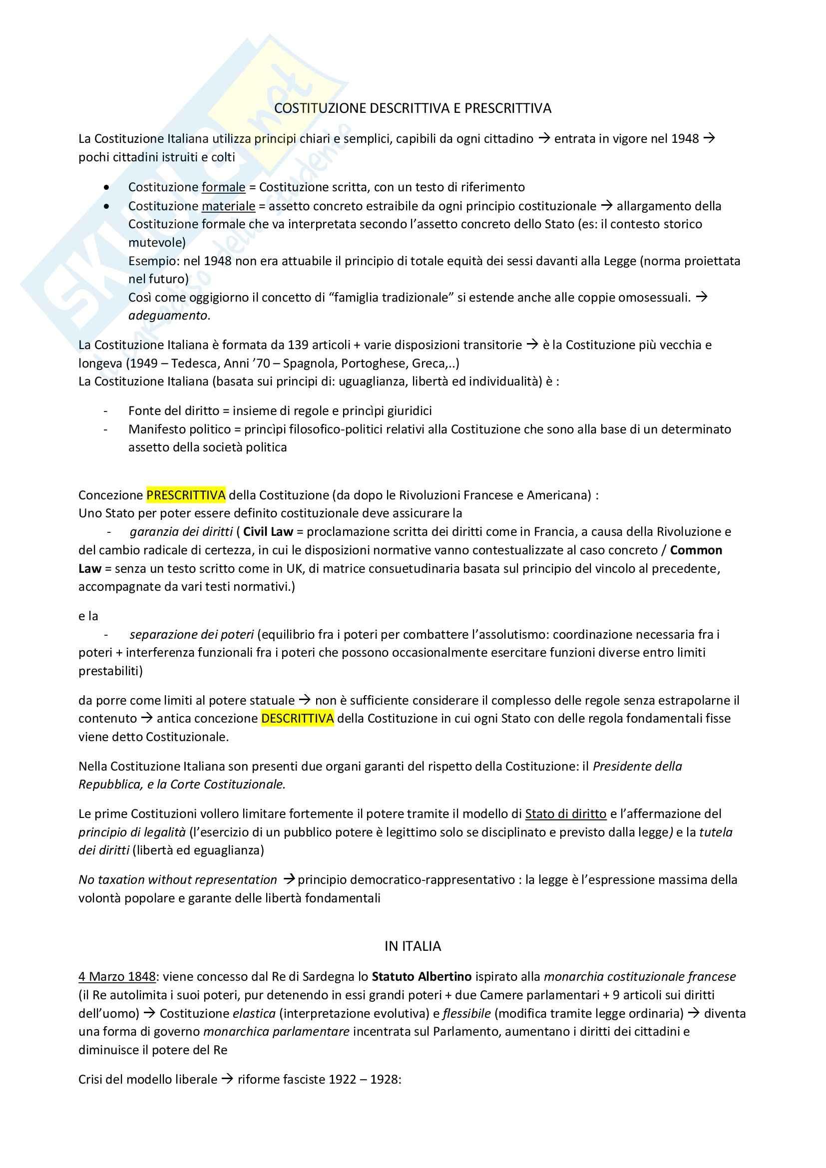 Riassunto esame Diritto Costituzionale, prof. D'Amico