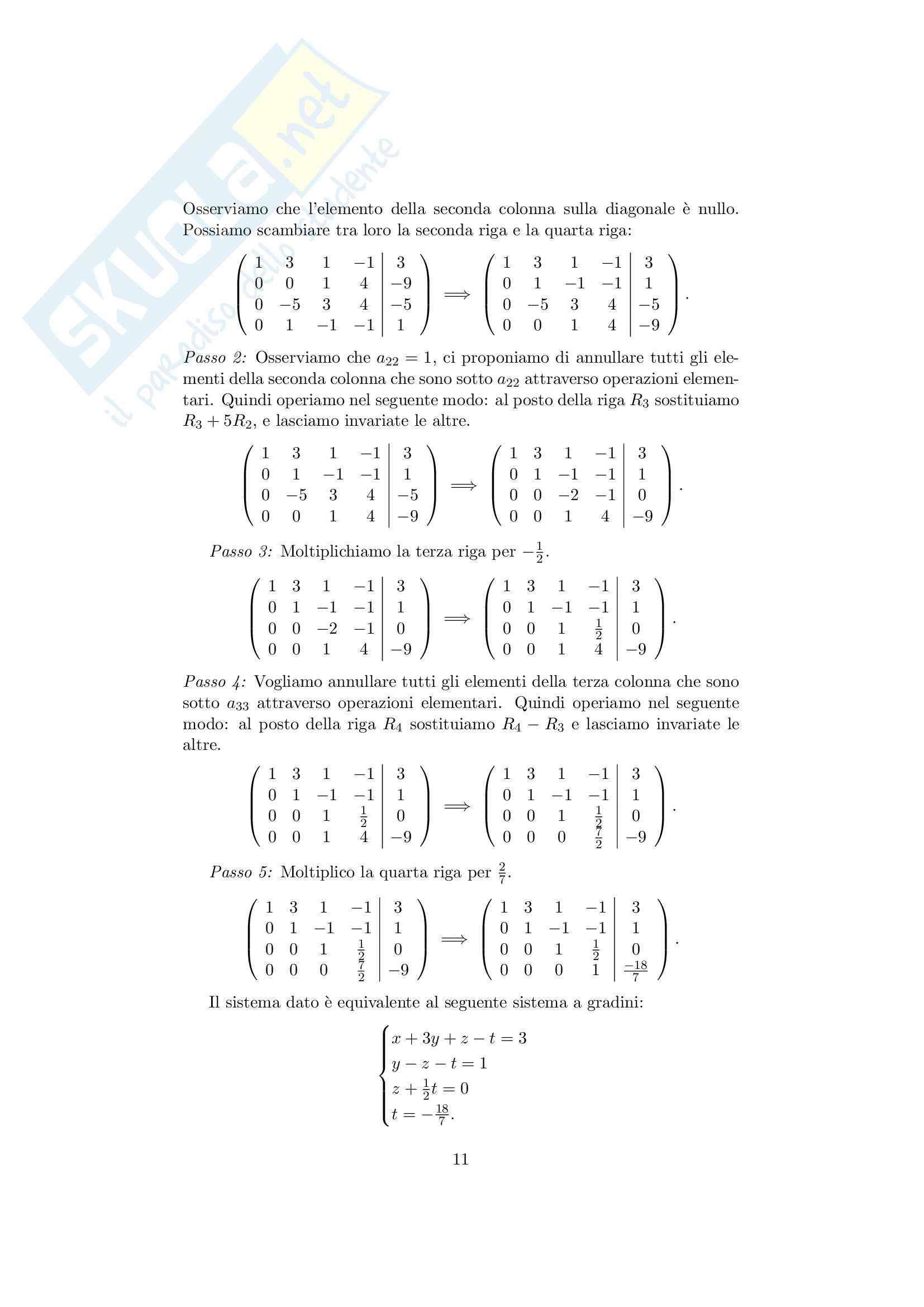 Sistemi lineari Pag. 11