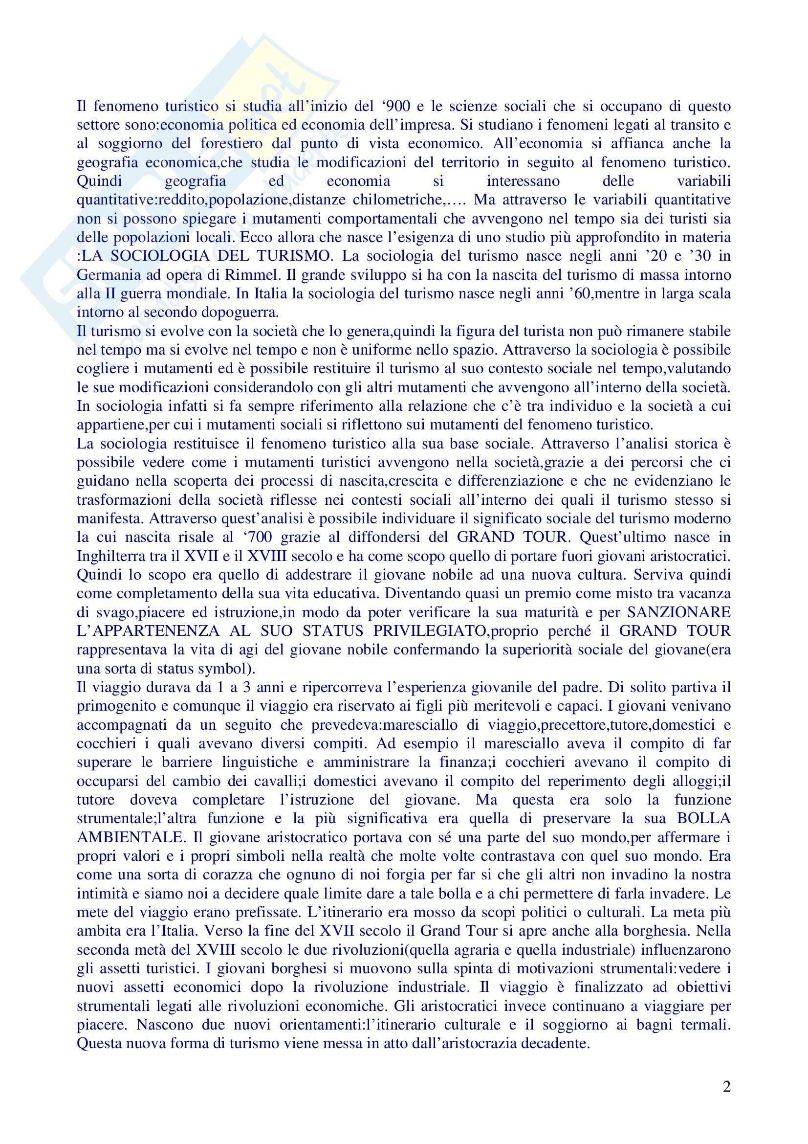 Sociologia del turismo - analisi del fenomeno turistico Pag. 2