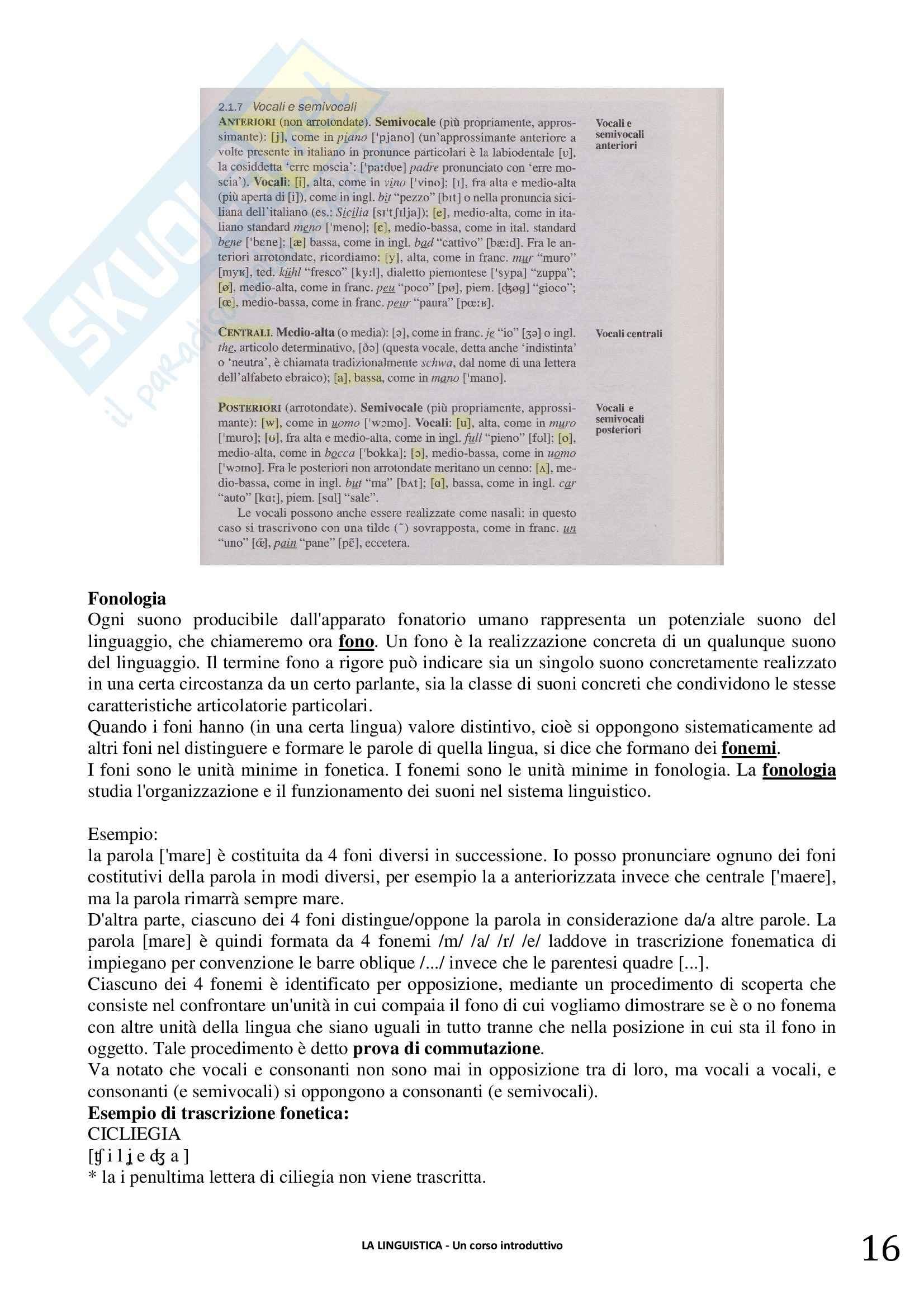 Riassunto esame linguistica generale, prof. Berruto, libro consigliato La Linguistica. Berruto, Cerruti Pag. 16