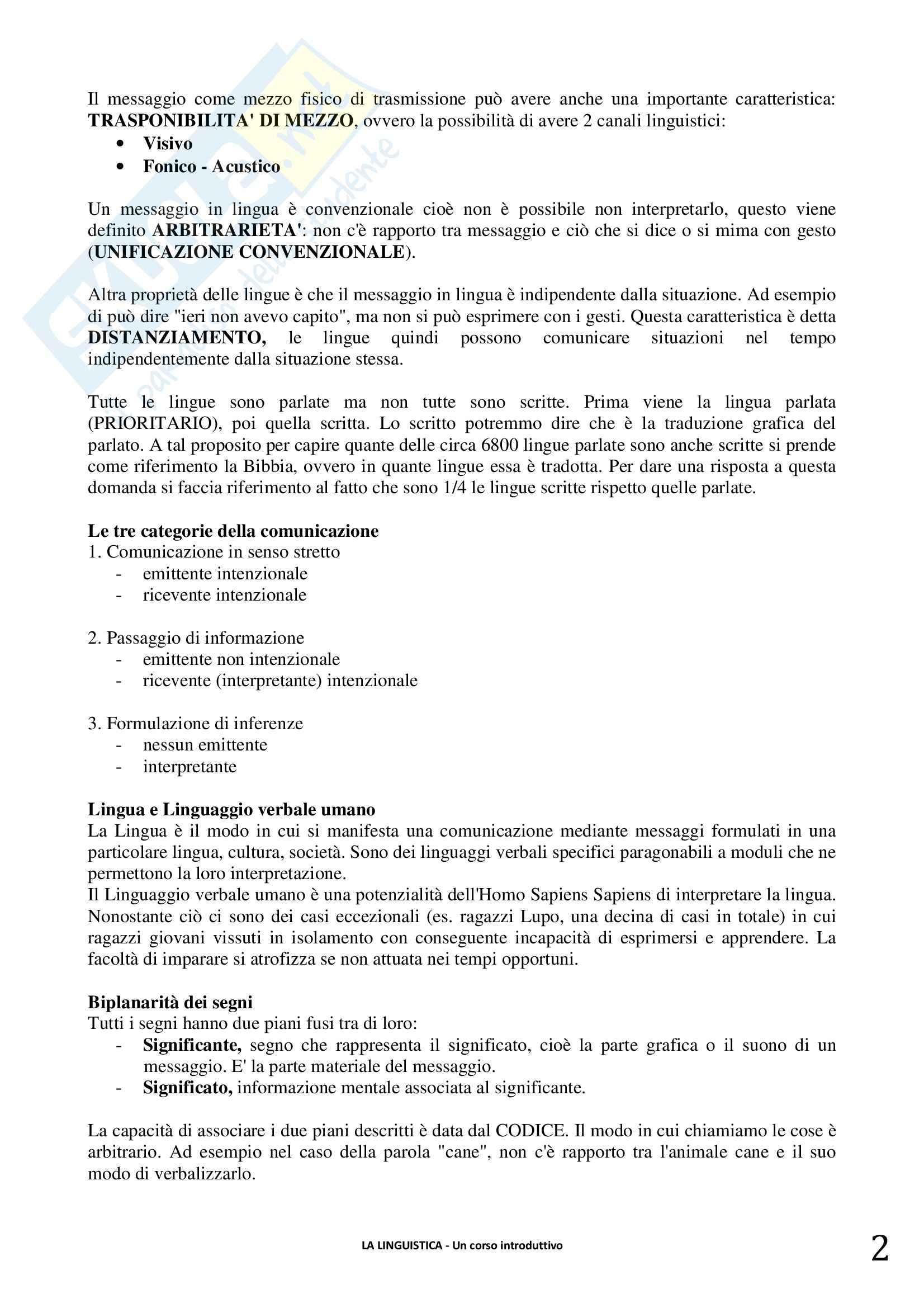 Riassunto esame linguistica generale, prof. Berruto, libro consigliato La Linguistica. Berruto, Cerruti Pag. 2