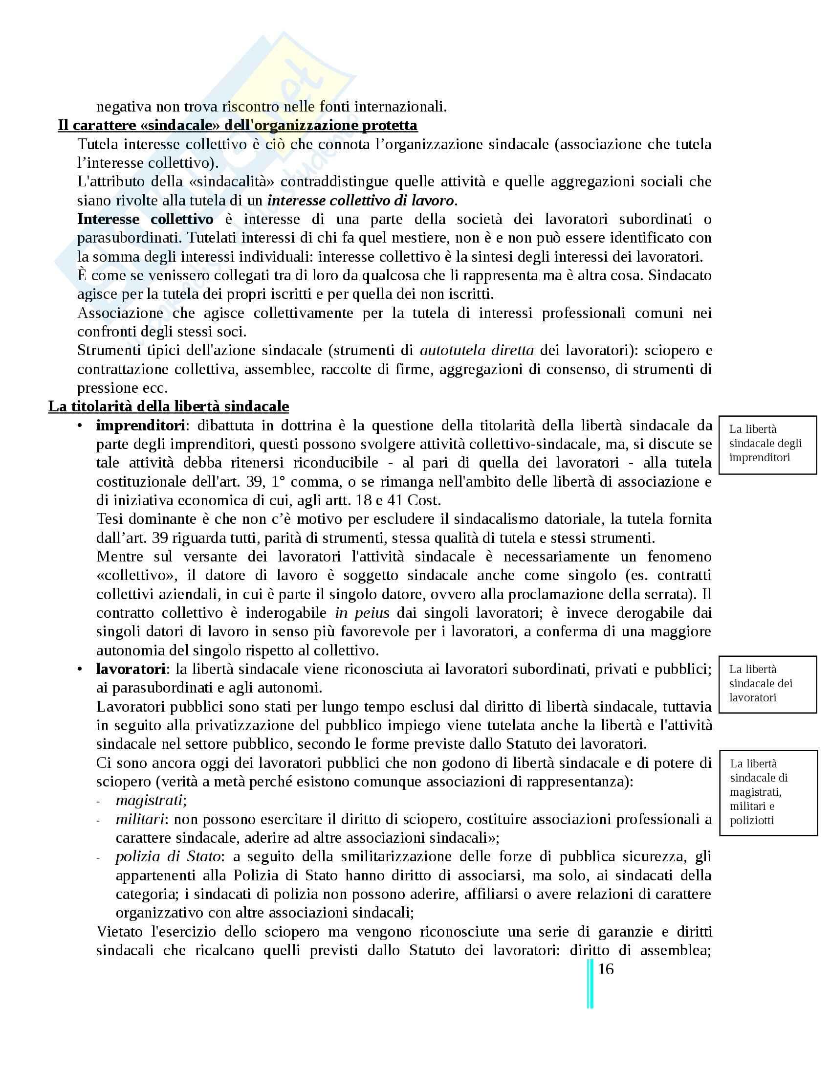 Riassunto esame Diritto Del Lavoro, prof. Tullini, libro consigliato Il diritto sindacale, Carinci Tomajo Tosi Treu Pag. 16