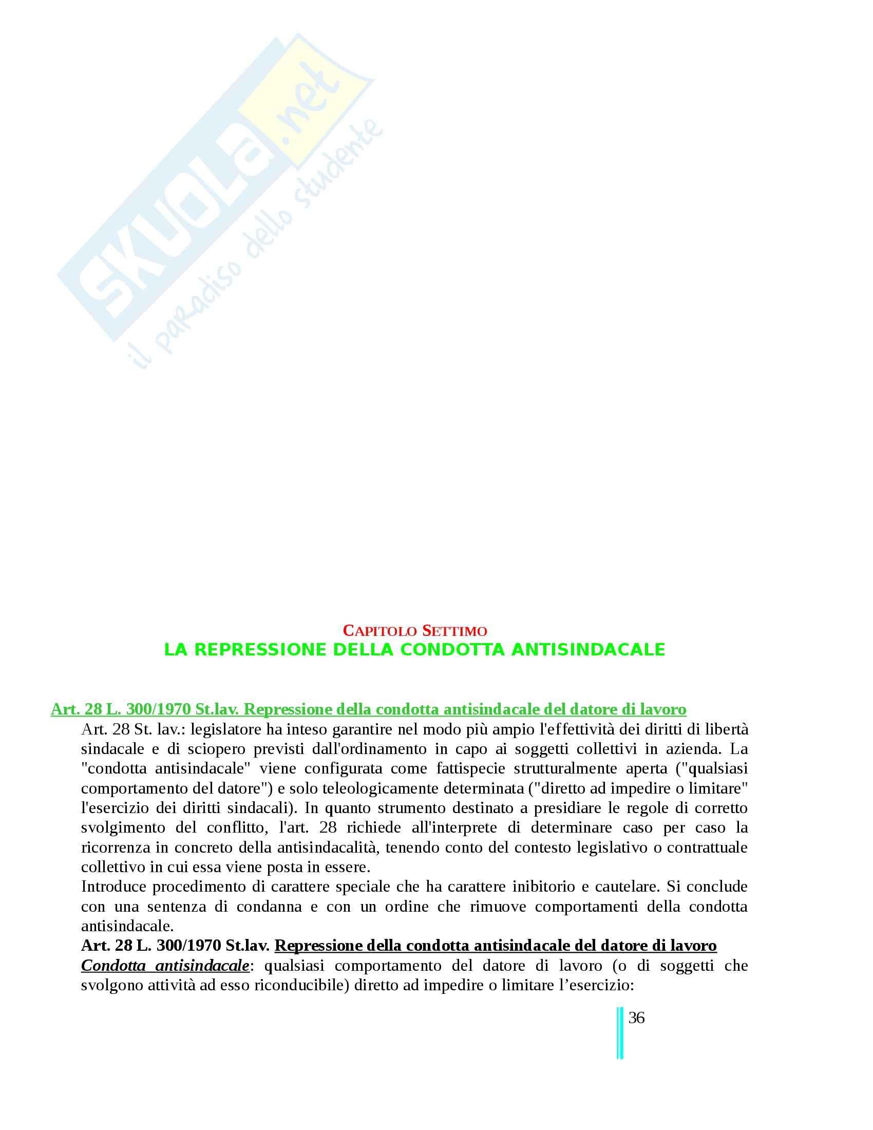 Riassunto esame Diritto Del Lavoro, prof. Tullini, libro consigliato Il diritto sindacale, Carinci Tomajo Tosi Treu Pag. 36