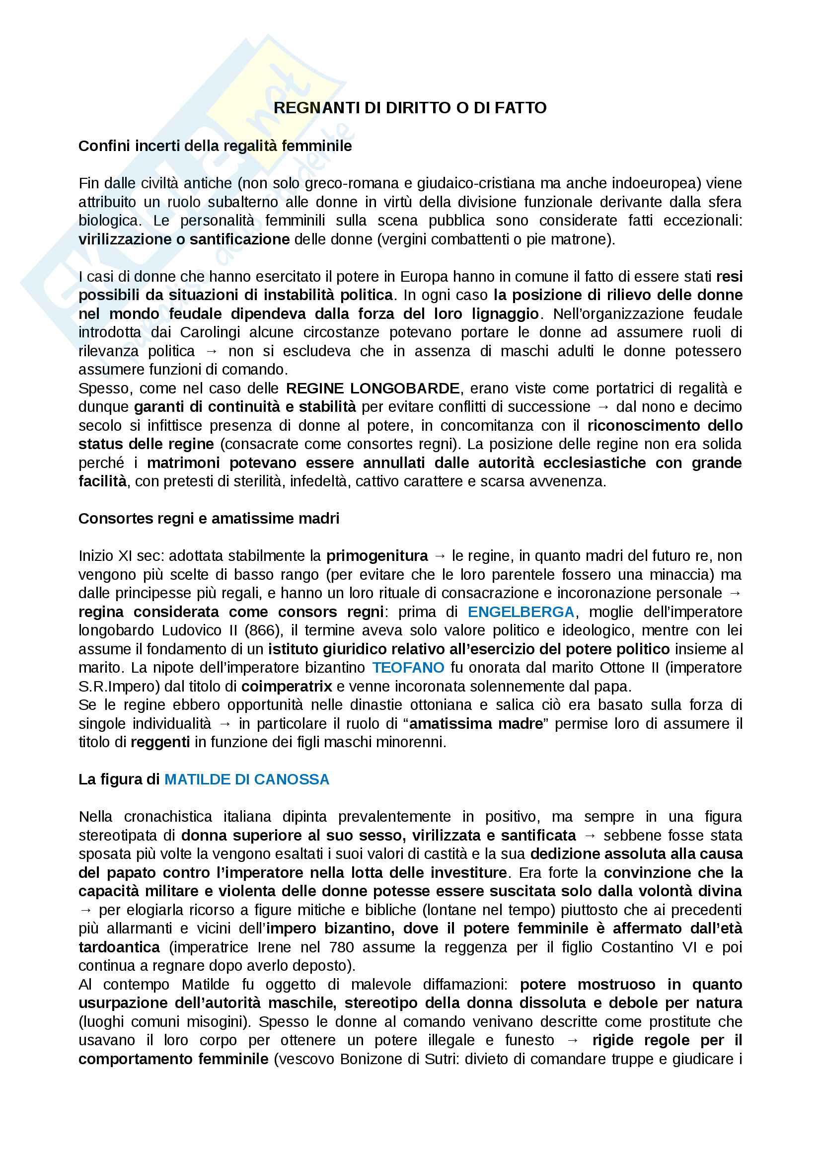 Riassunto esame storia culturale, prof Negruzzo, libro consigliato Regine per caso, donne al governo in età moderna, Casanova