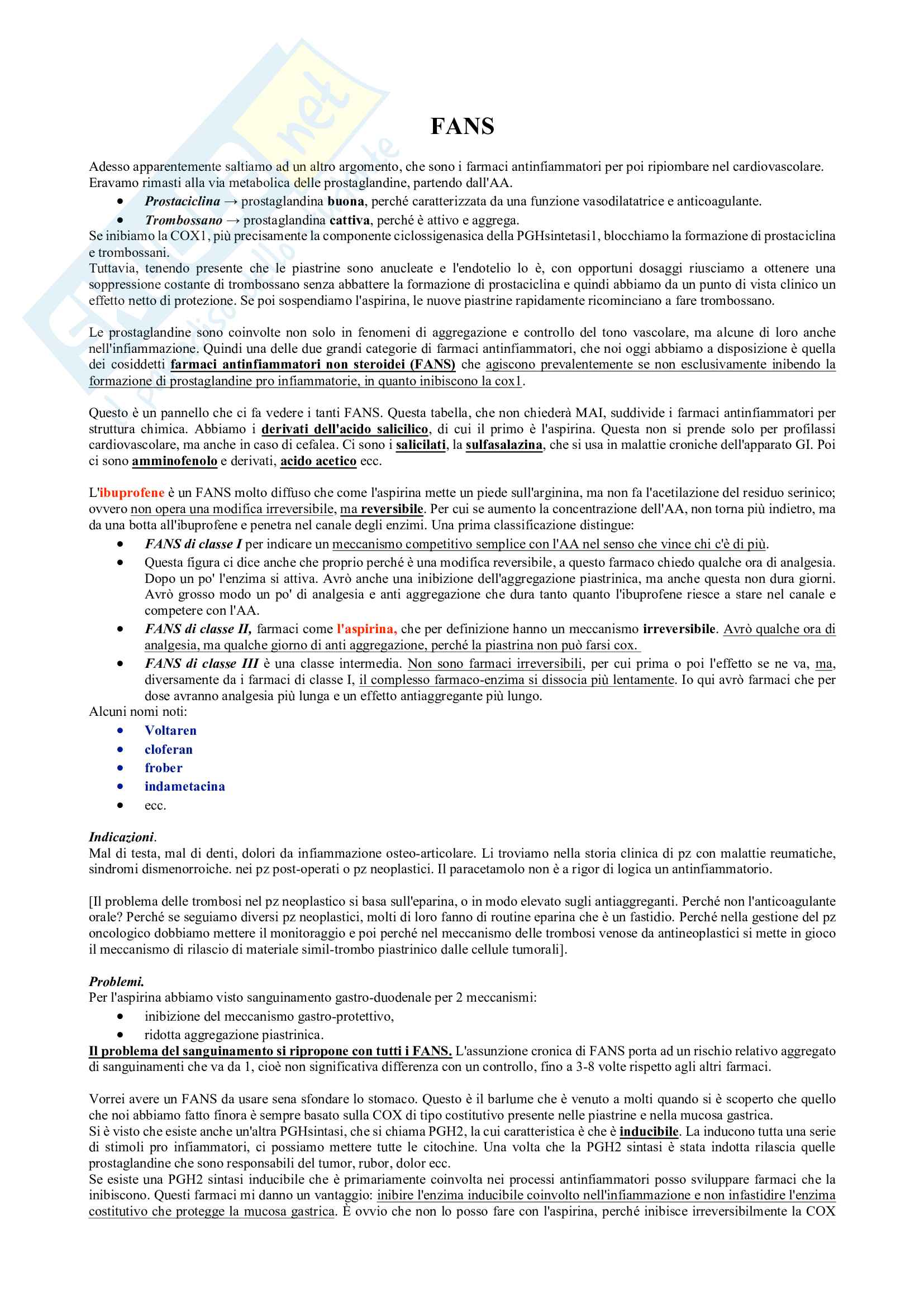 Farmaci antinfiammatori non steroidei