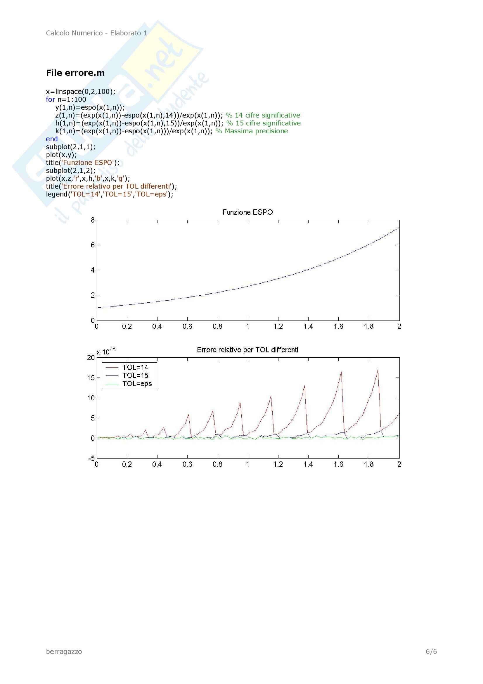 Calcolo Numerico – Funzione Espo Pag. 6